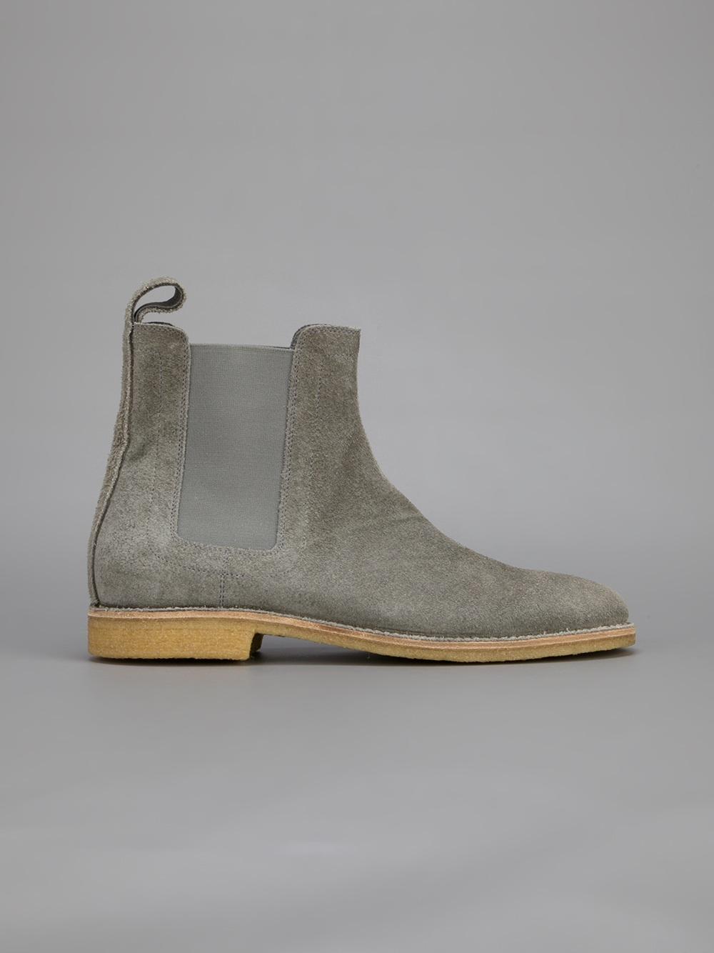 2c3c8166284 Bottega Veneta Gray Buffalo-Suede Chelsea Boots for men