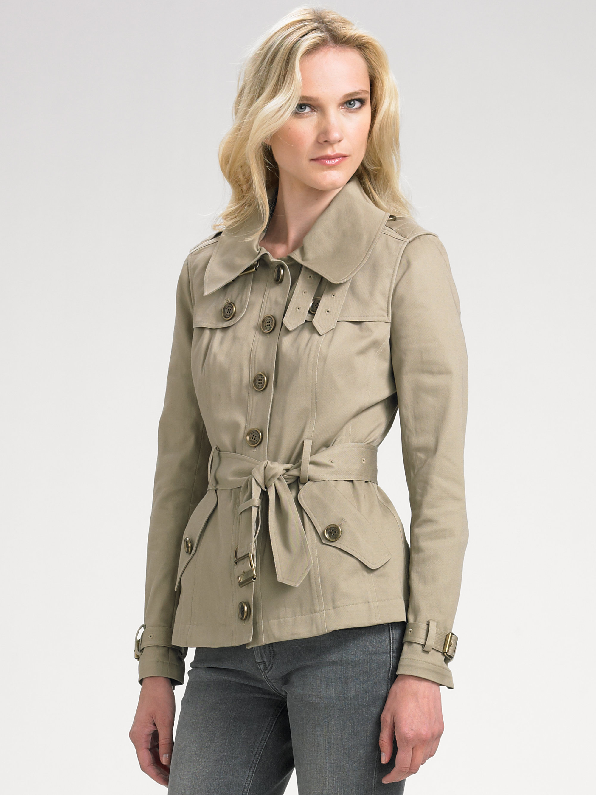 Burberry Brit Short Trench Coat In Green