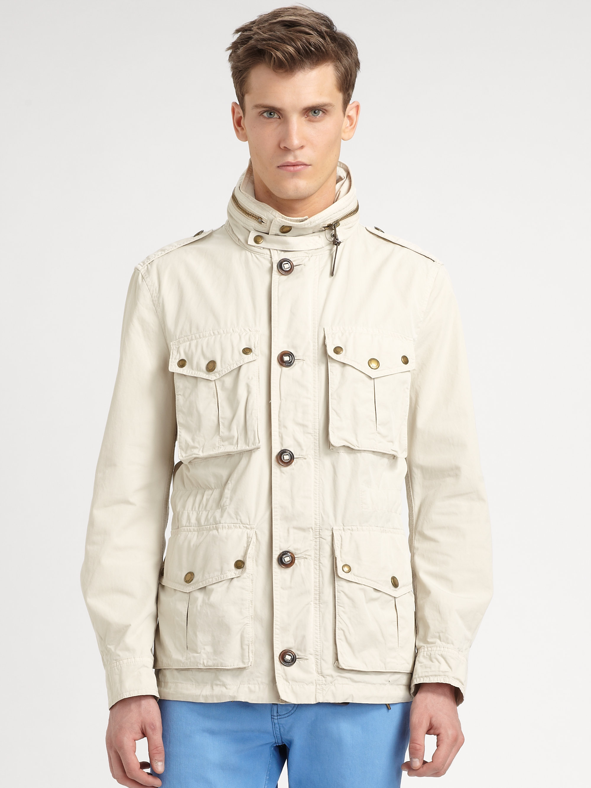Lyst Burberry Brit Cotton Safari Jacket In Natural For Men