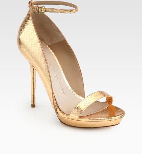 b382077d739e Burberry Prorsum Chester Snakeskin Ankle Strap Sandals in Gold