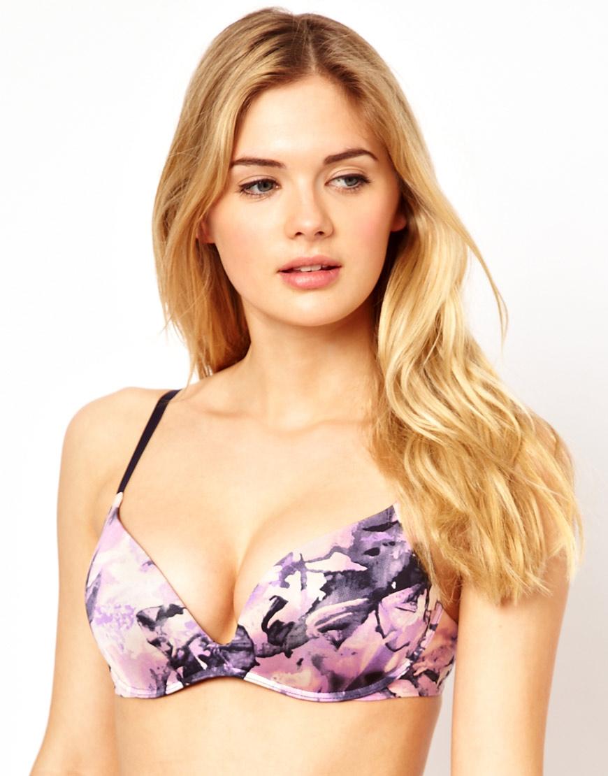 75f3670f92 Lyst - Calvin Klein Push Positive Push Up Bra in Purple