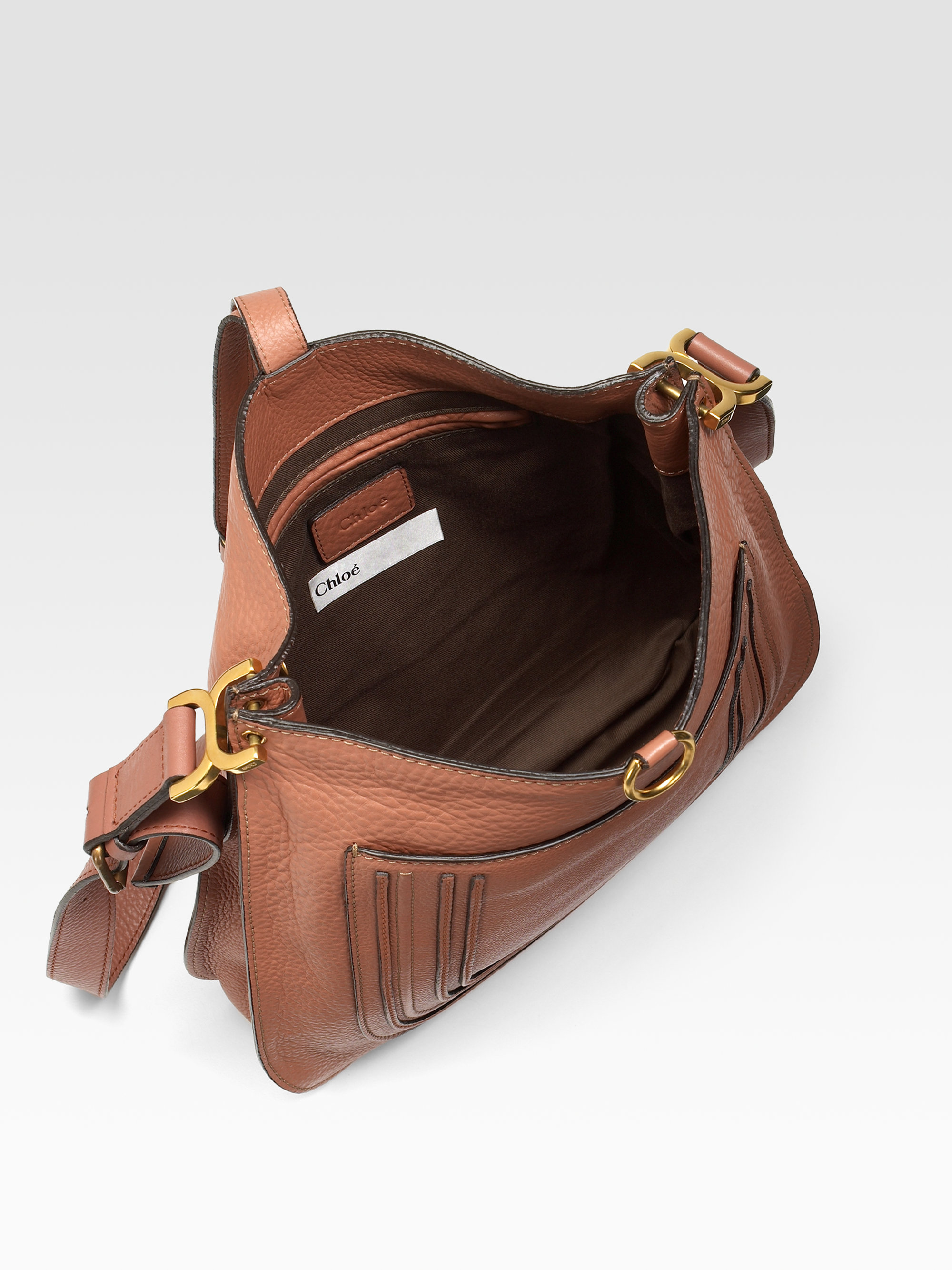 Chlo¨¦ Marcie New Leather Messenger Bag in Brown (clay)   Lyst