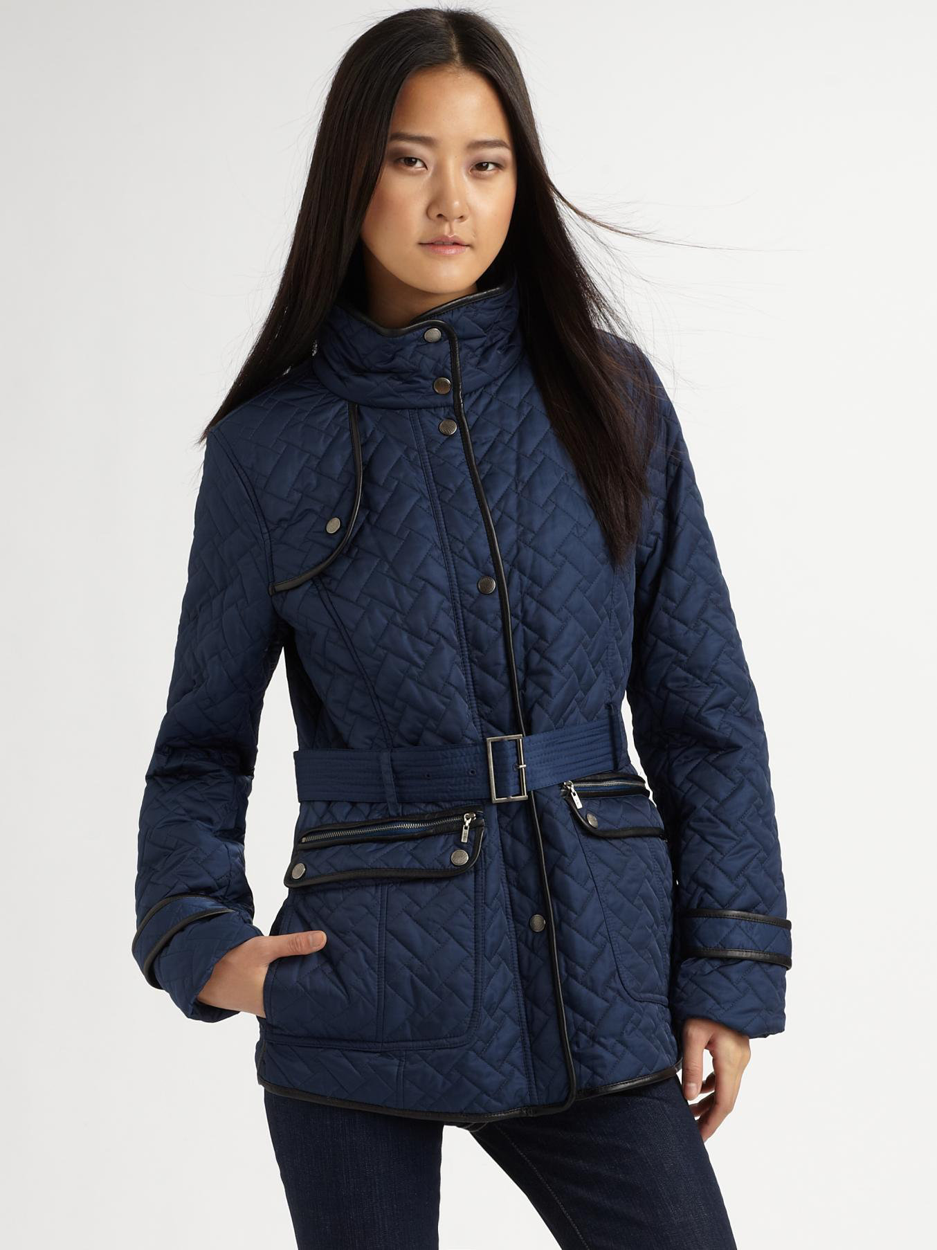 Lyst Cole Haan Signature Quilted Jacket In Blue