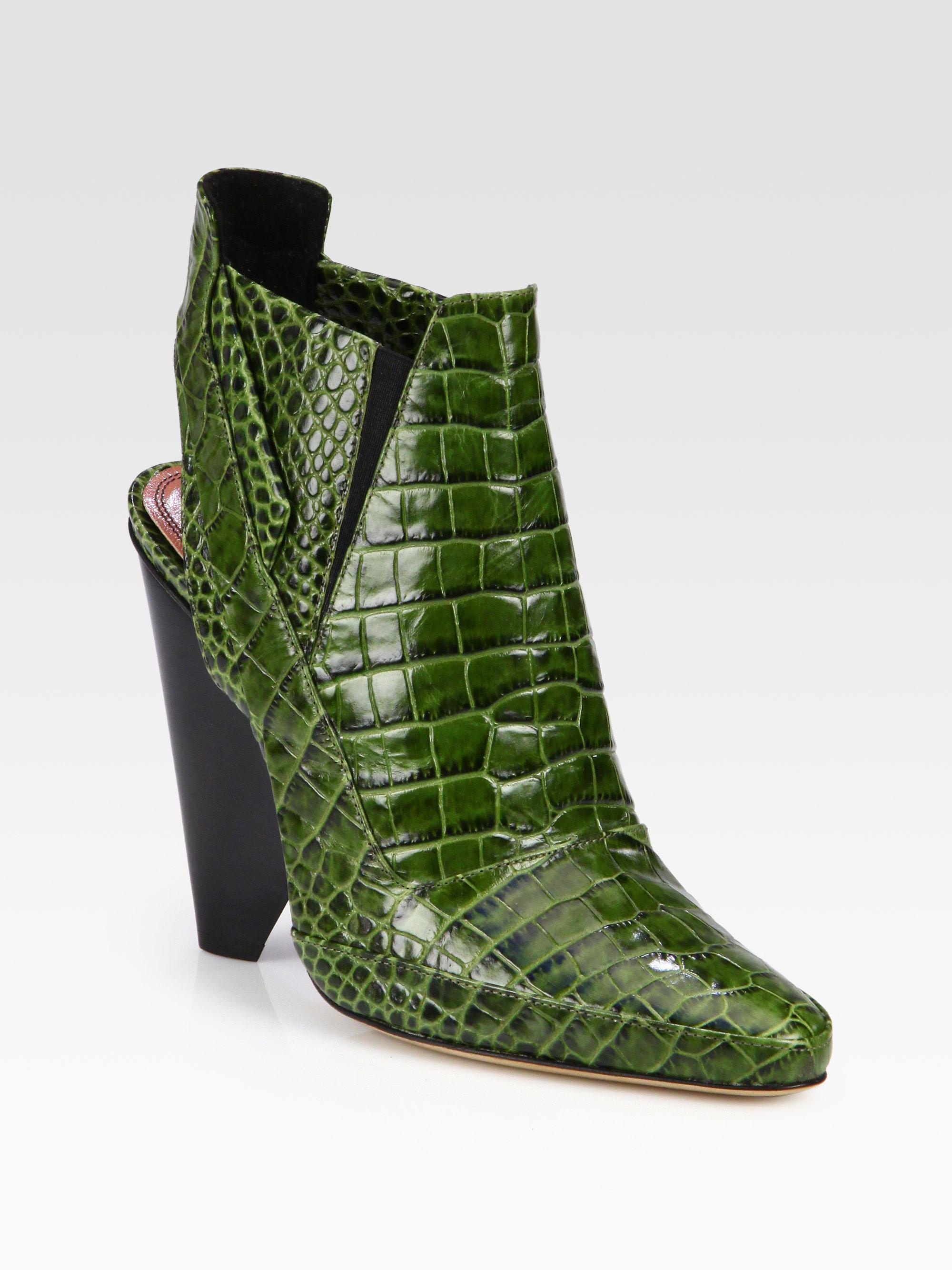 Lyst Derek Lam Tate Crocodileembossed Leather Ankle