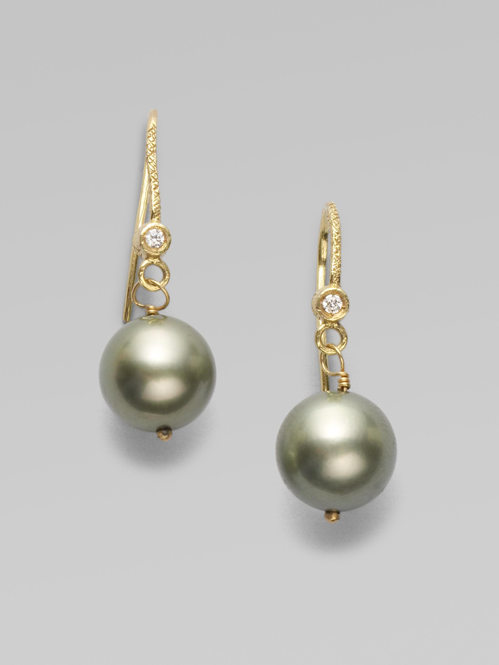 dominique cohen tahitian pearl 18k gold drop earrings in