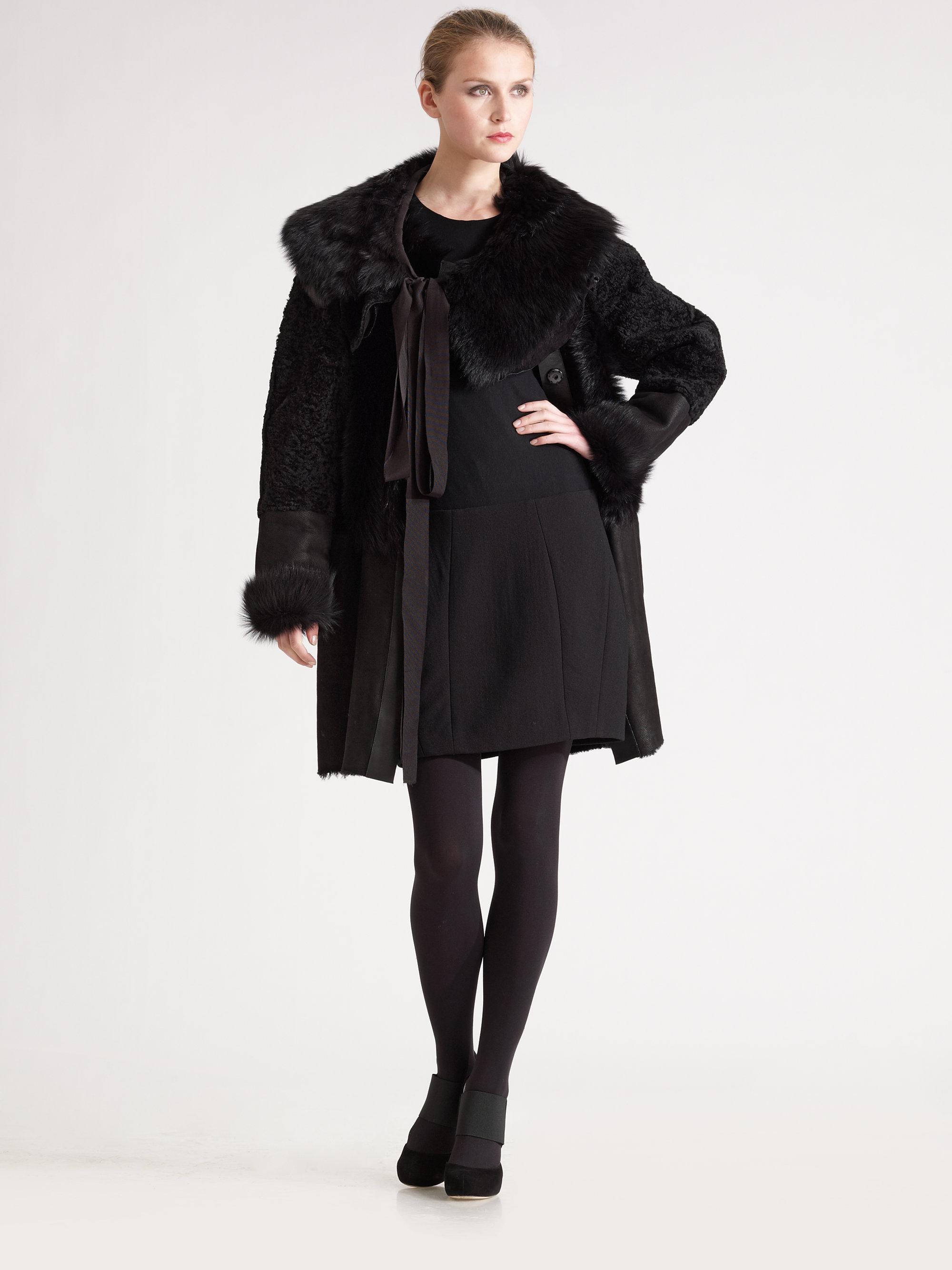 Donna karan Lamb Shearling Coat in Black | Lyst