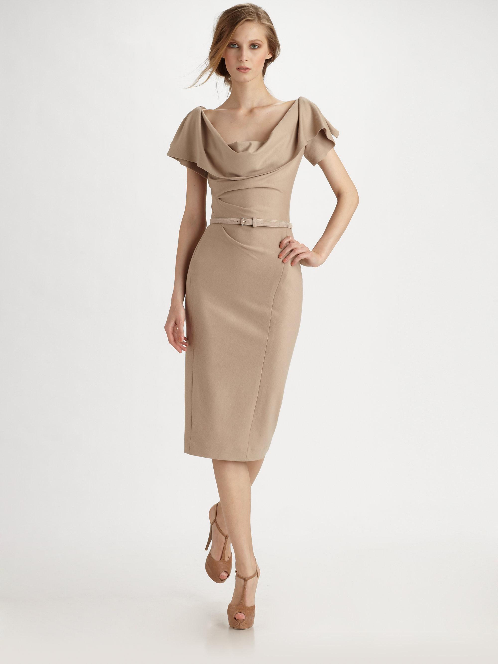 Donna Karan Wool Jersey Drape Dress In Natural Lyst