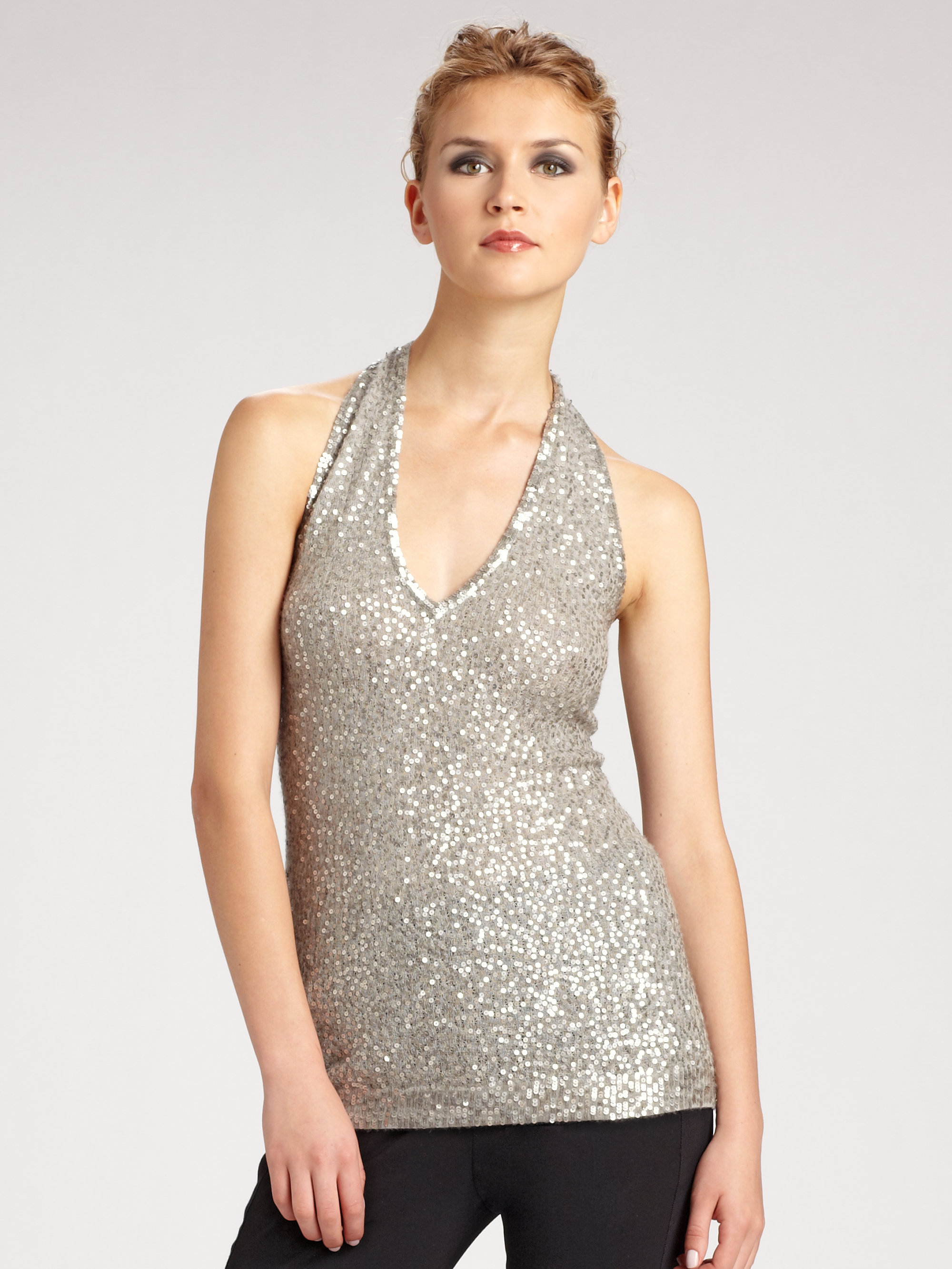 f1d91fc6b5a32e Lyst - Donna Karan Sequin Vneck Halter Top in Metallic