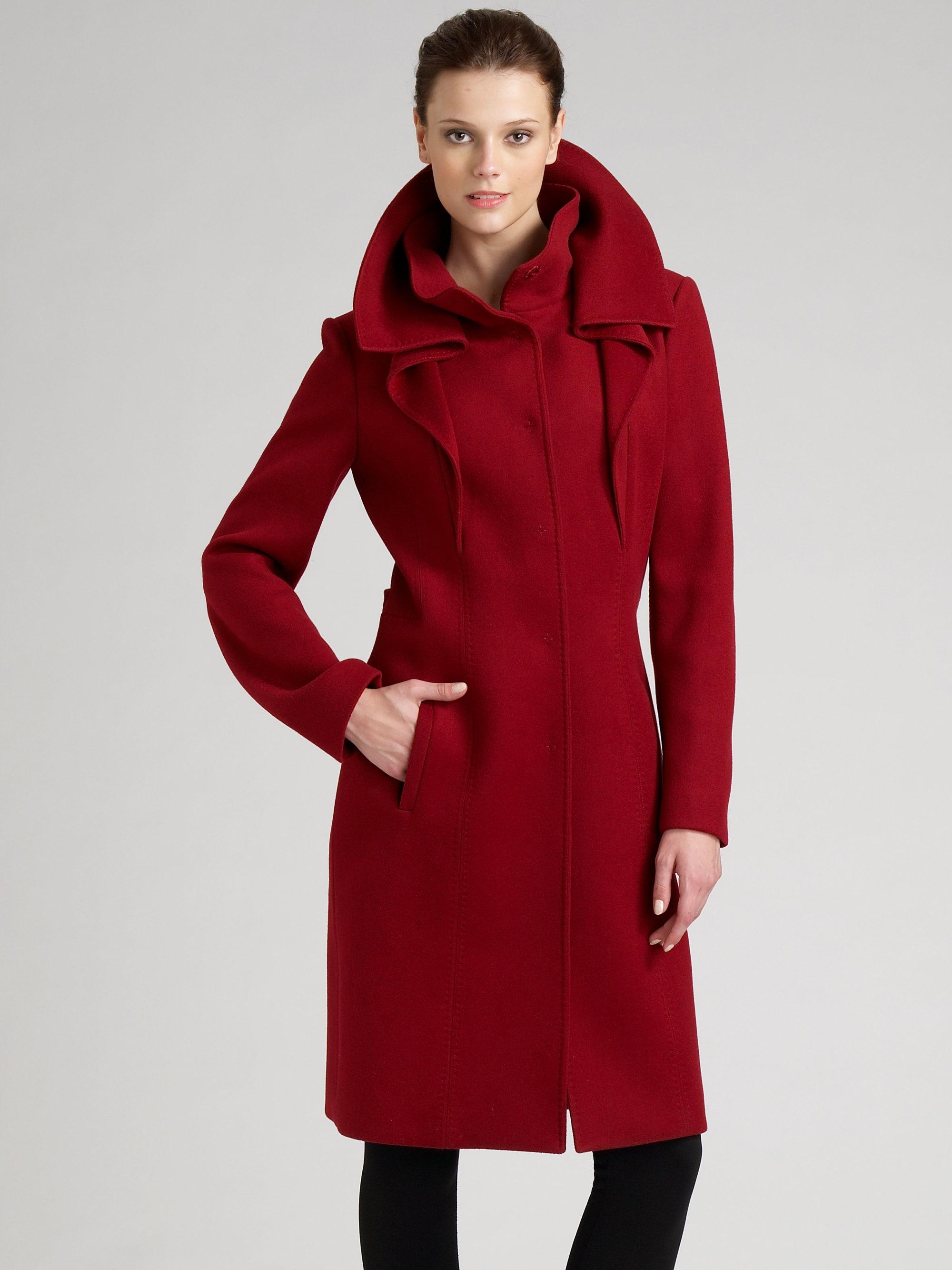Elie tahari Adriel Doubleface Wool Coat in Red | Lyst