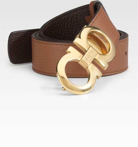 ferragamo reversible leather belt gancino buckle in brown