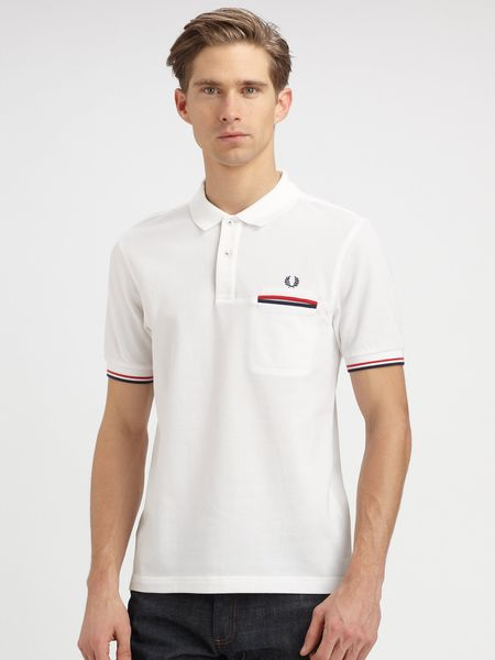 Fred Perry Piped Pocket Polo in White for Men - Lyst