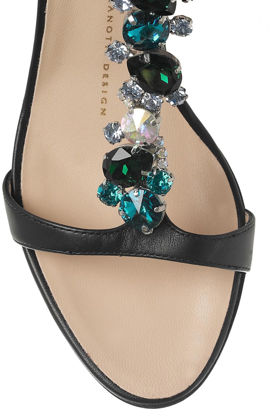 Giuseppe Zanotti Embellished Leather Sandals In Black Lyst