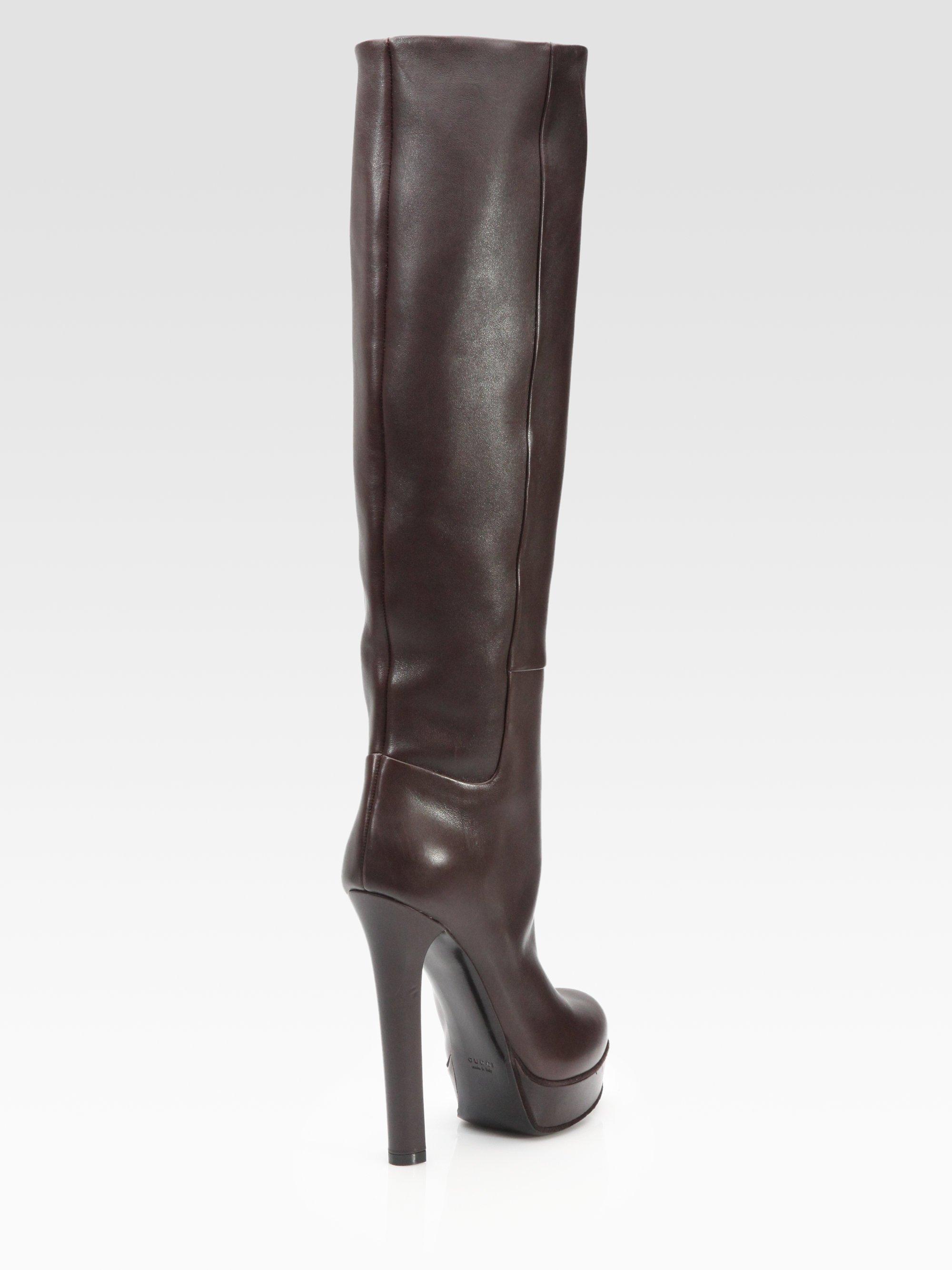 710865db33f Gucci Brown Alexa Leather Knee-High Platform Boots