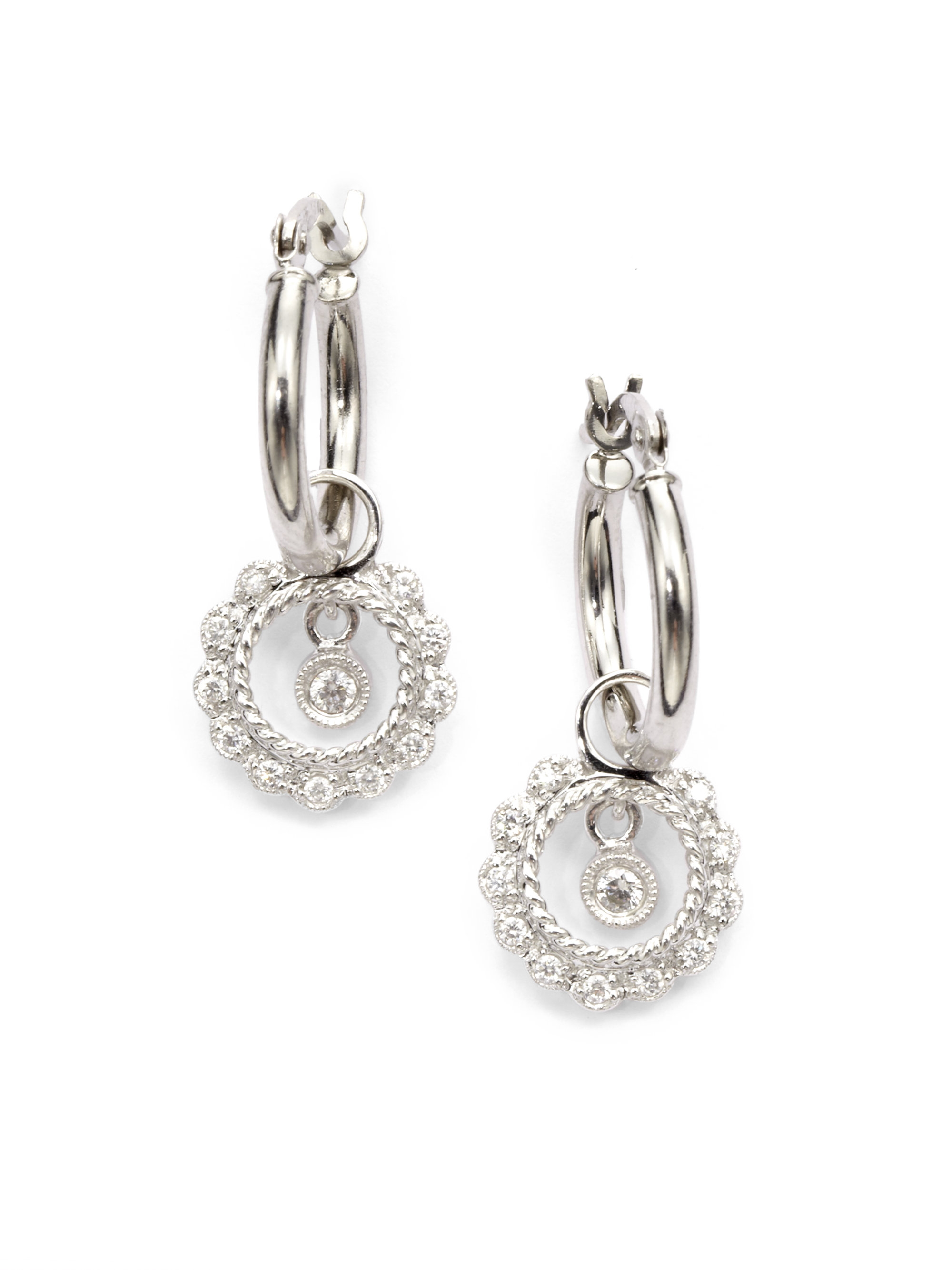 Kc designs Diamond Circle Charm Hoop Earrings in Metallic