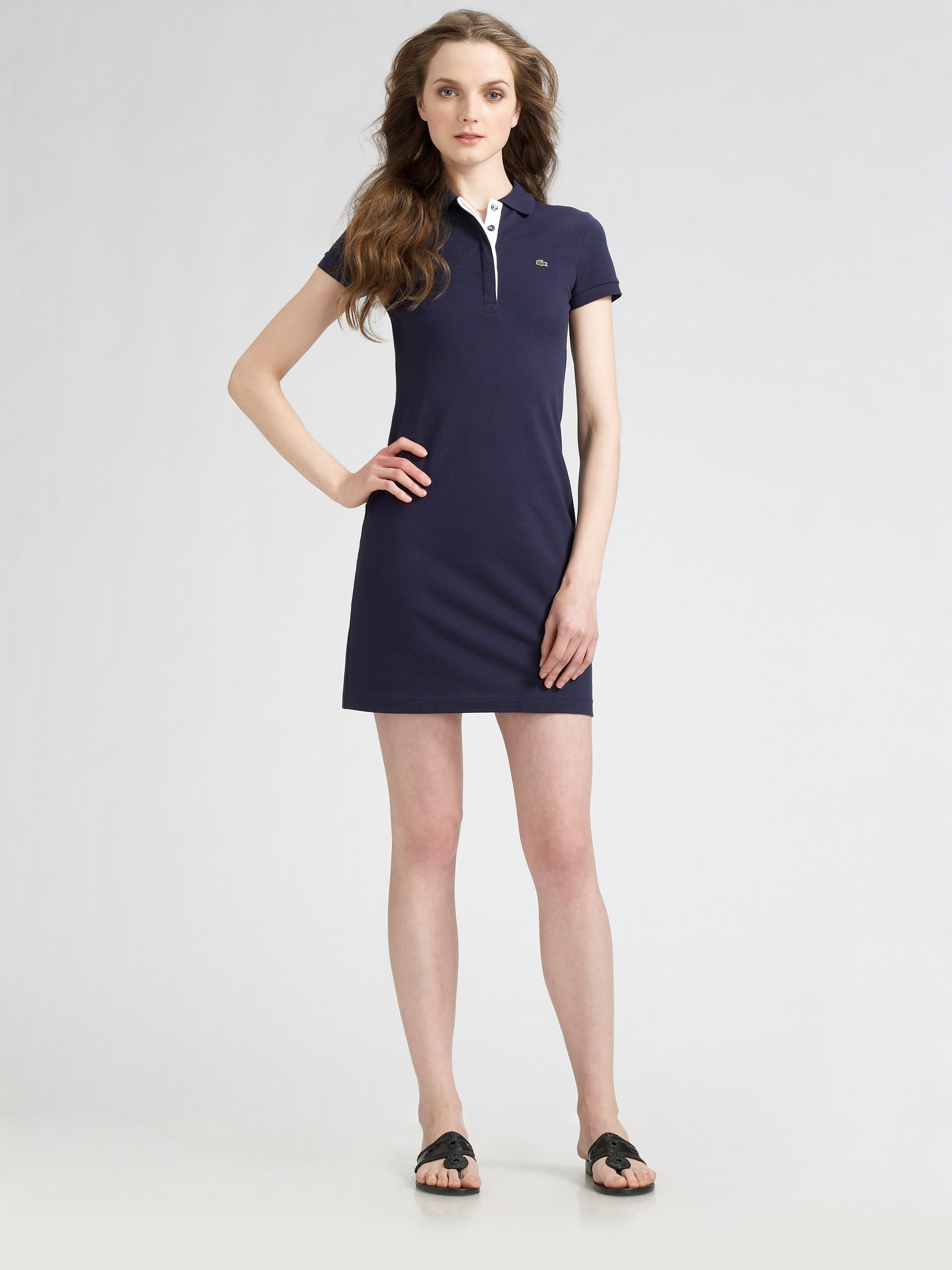 Lyst Lacoste Polo Shirtdress In Blue