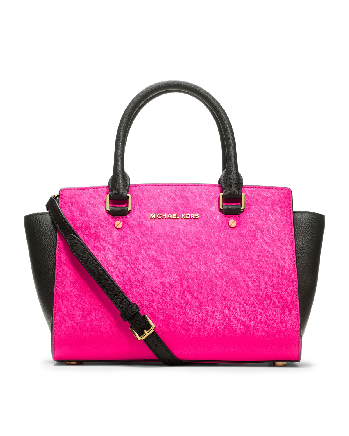 michael michael kors medium selma saffiano satchel in pink lyst. Black Bedroom Furniture Sets. Home Design Ideas