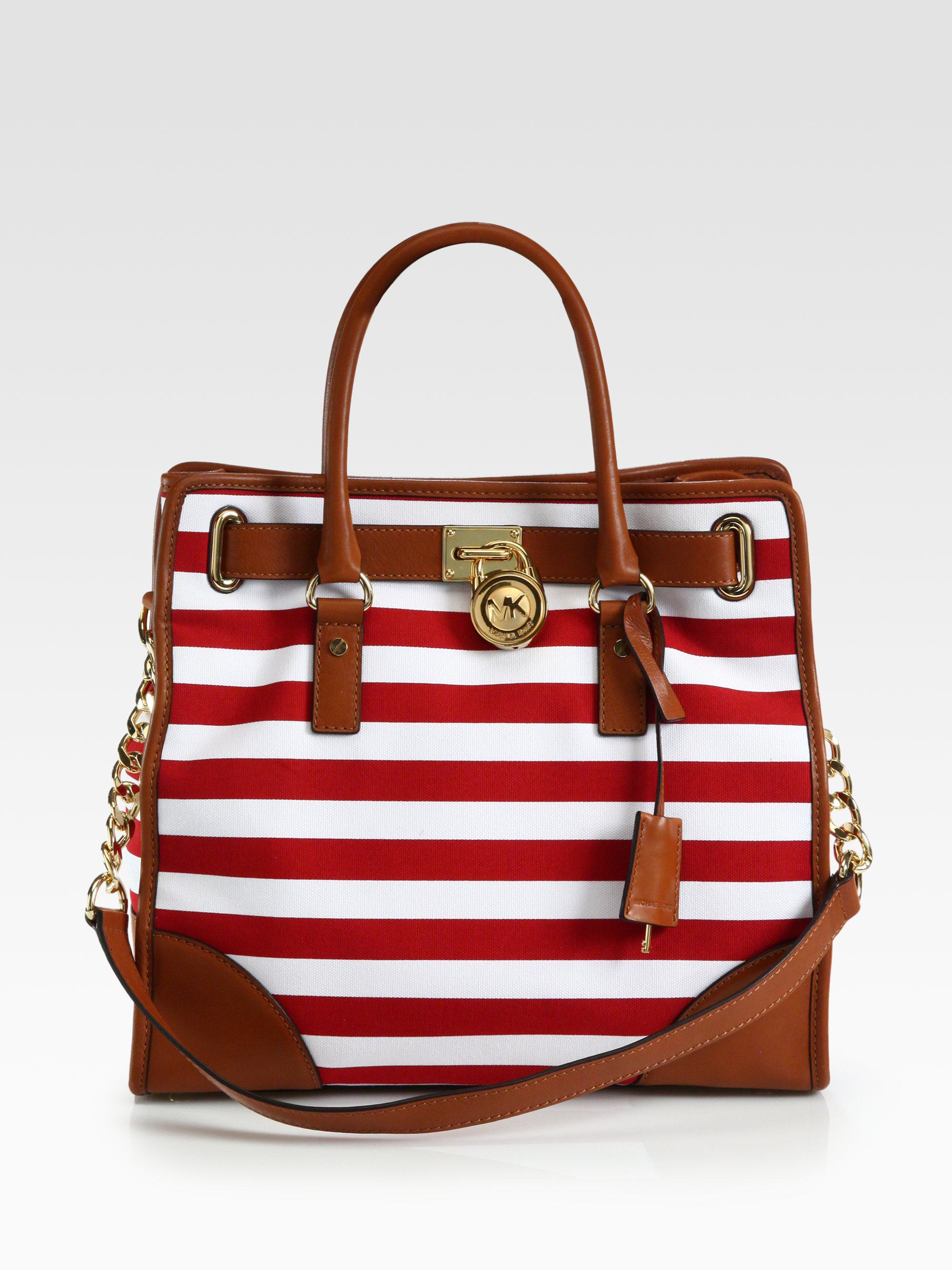 a33372f99 Michael Kors Red Canvas Tote. Michael Michael Kors Hamilton Striped Canvas  North South Tote in Red | Lyst