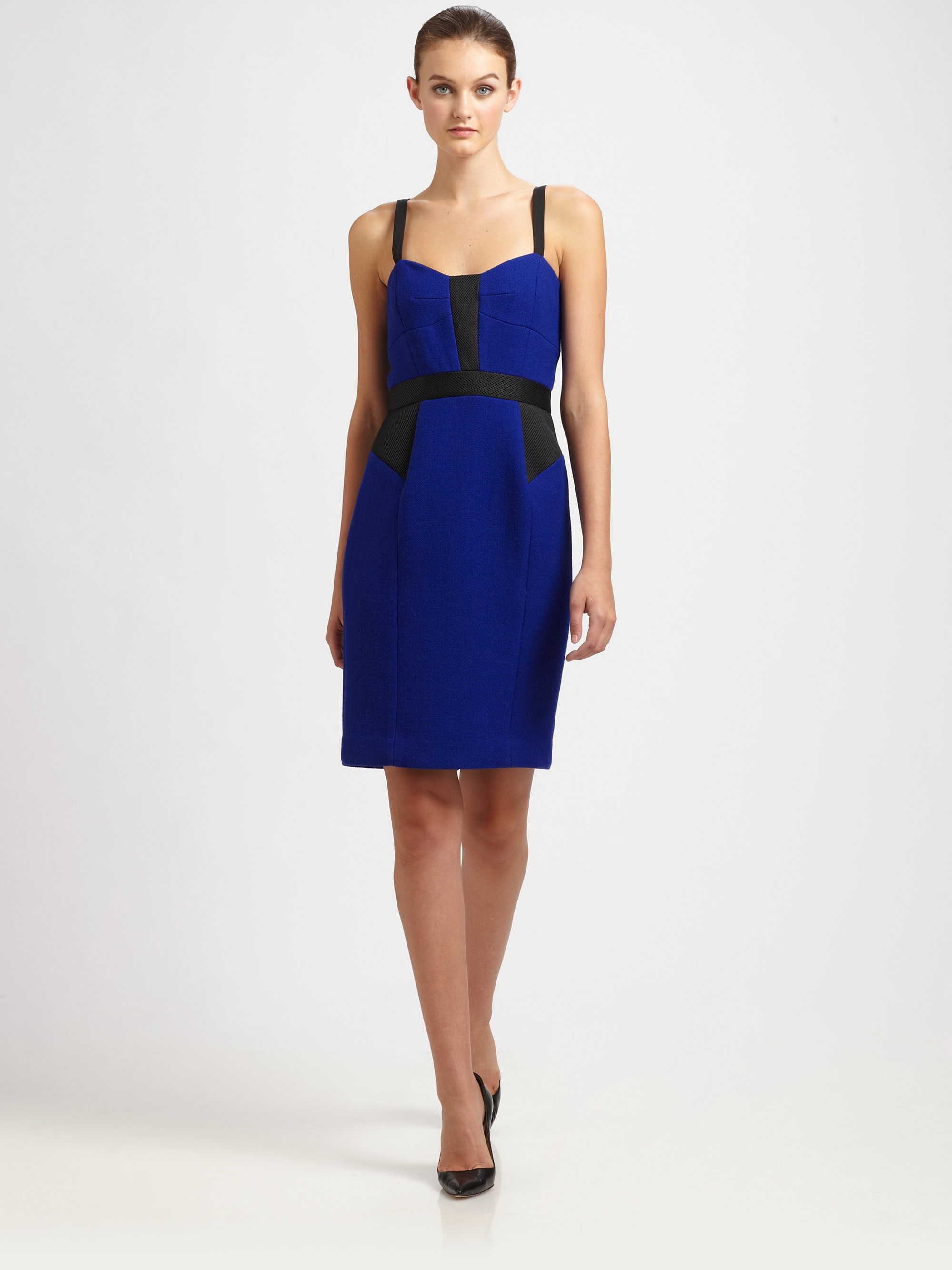 Milly Colorblock Combo Dress In Blue Lyst