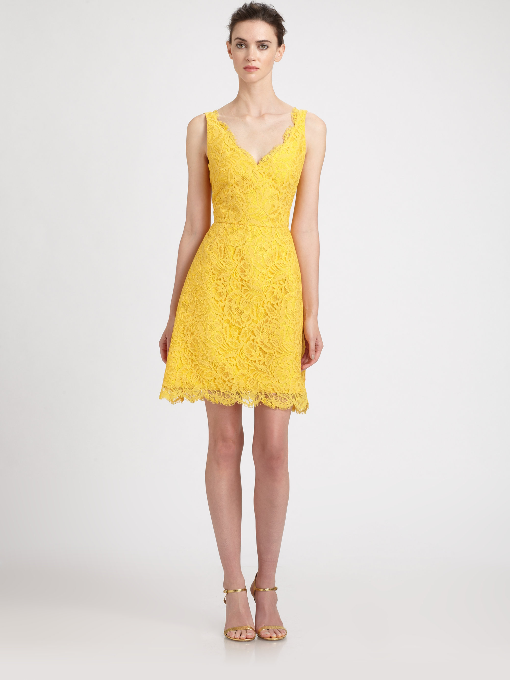 d0ee58596b9 ML Monique Lhuillier Lace Dress in Yellow - Lyst