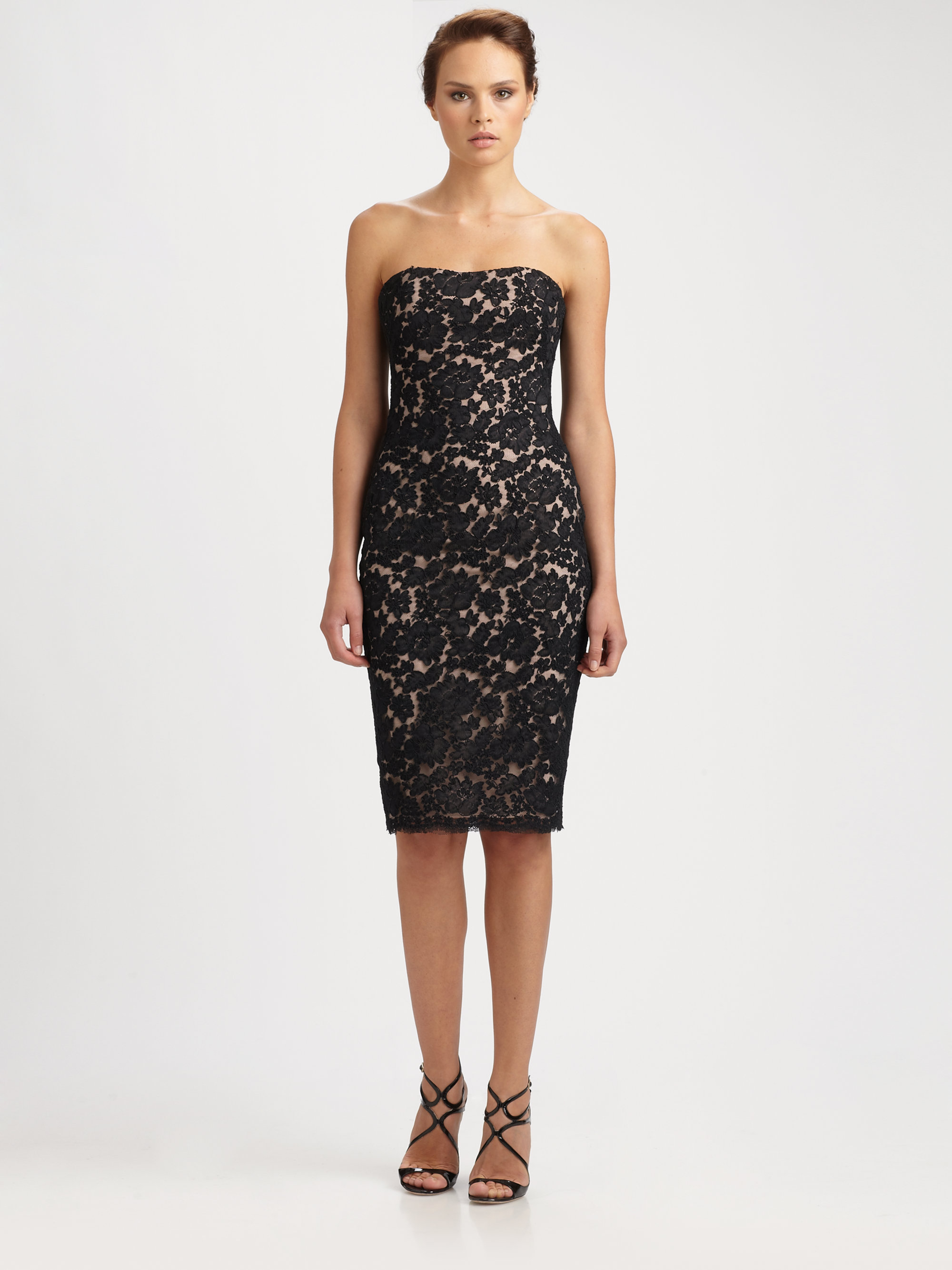 Notte by marchesa Strapless Lace Cocktail Dress in Black | Lyst