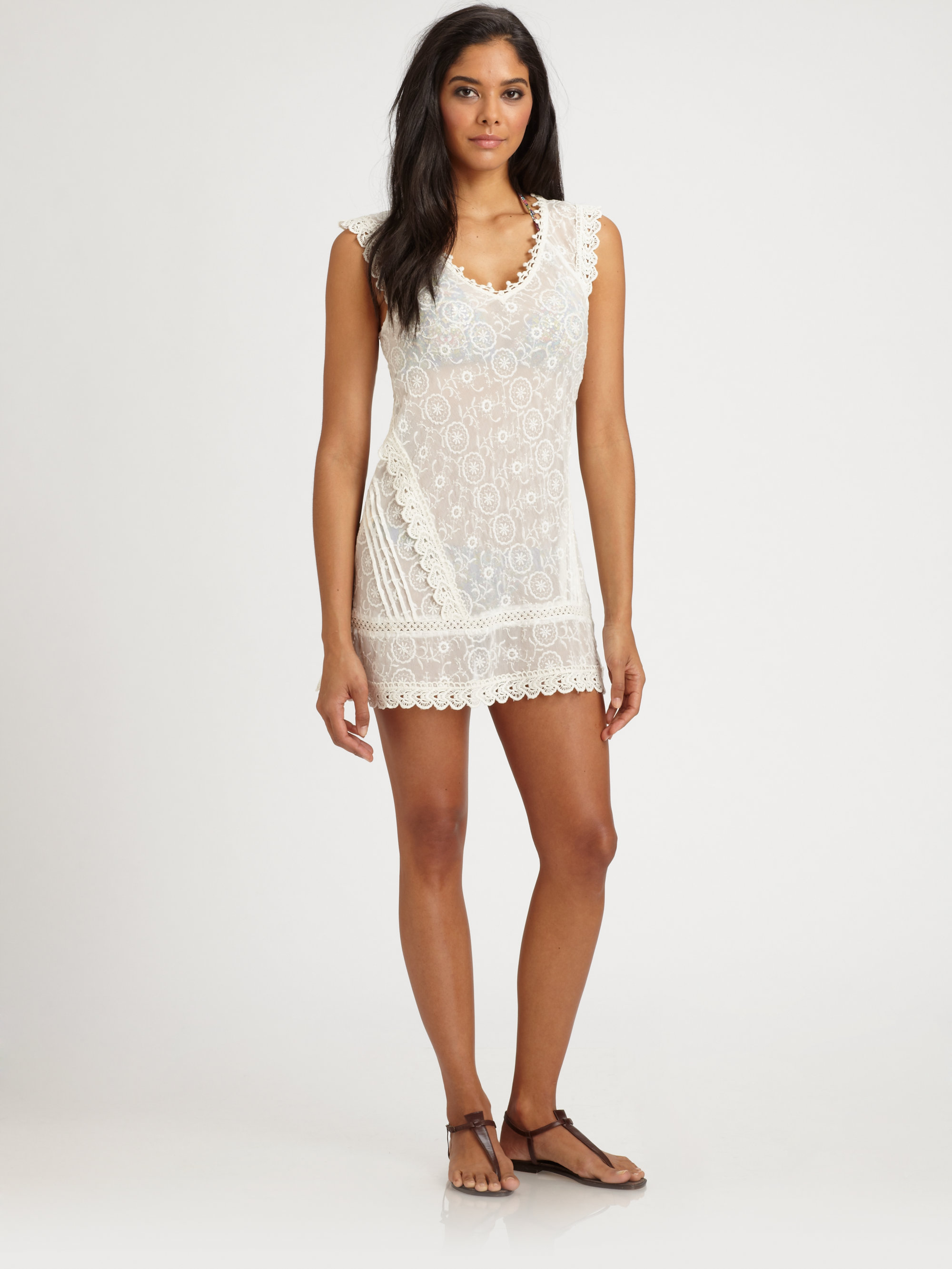 Ondademar embroidered beach dress in white lyst