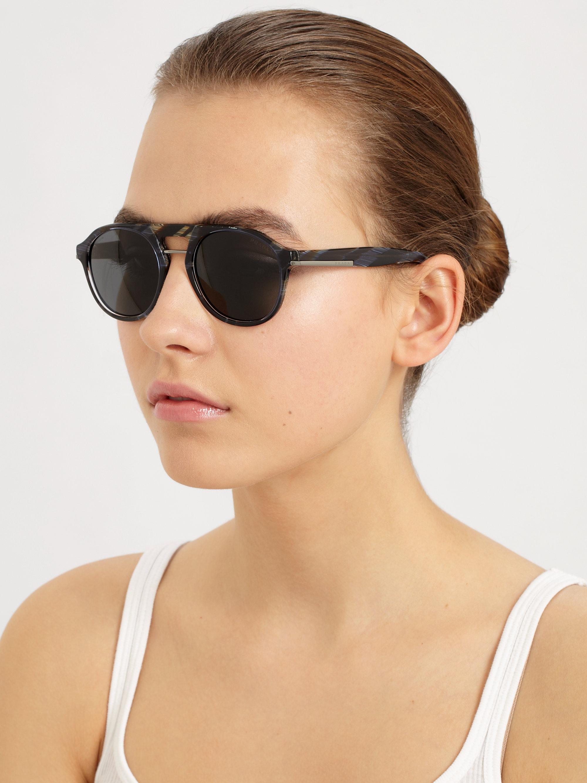 b152183f331 ... australia lyst prada flat top round acetate sunglasses in black 31dea  dc755