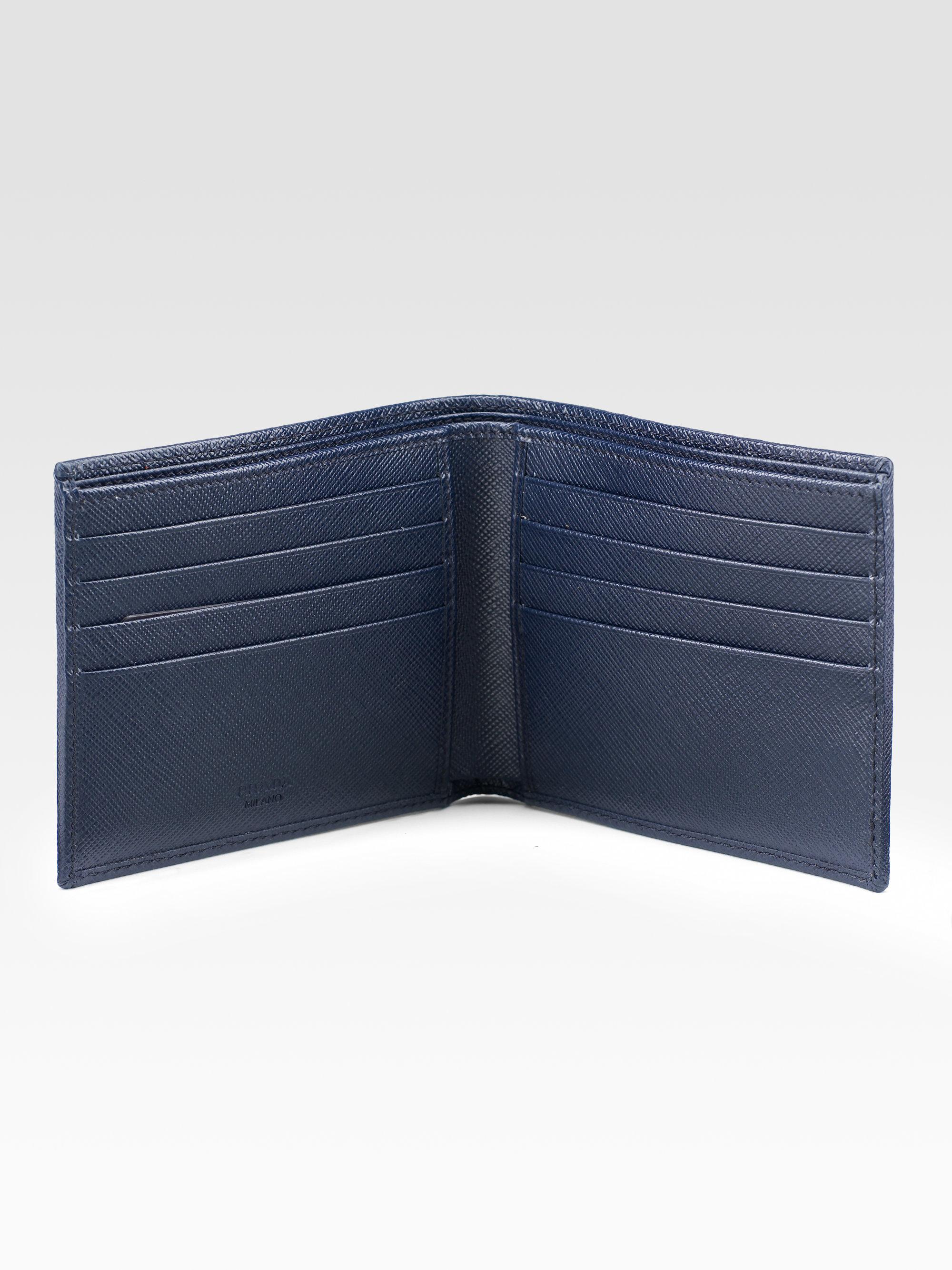 e25836f74ea665 italy prada textured leather wallet navy e9b2c e57c7; top quality lyst prada  intreccio bi fold wallet in blue for men 5a085 52b0e