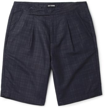 Raf Simons Navy Wool blend Suit Shorts - Lyst