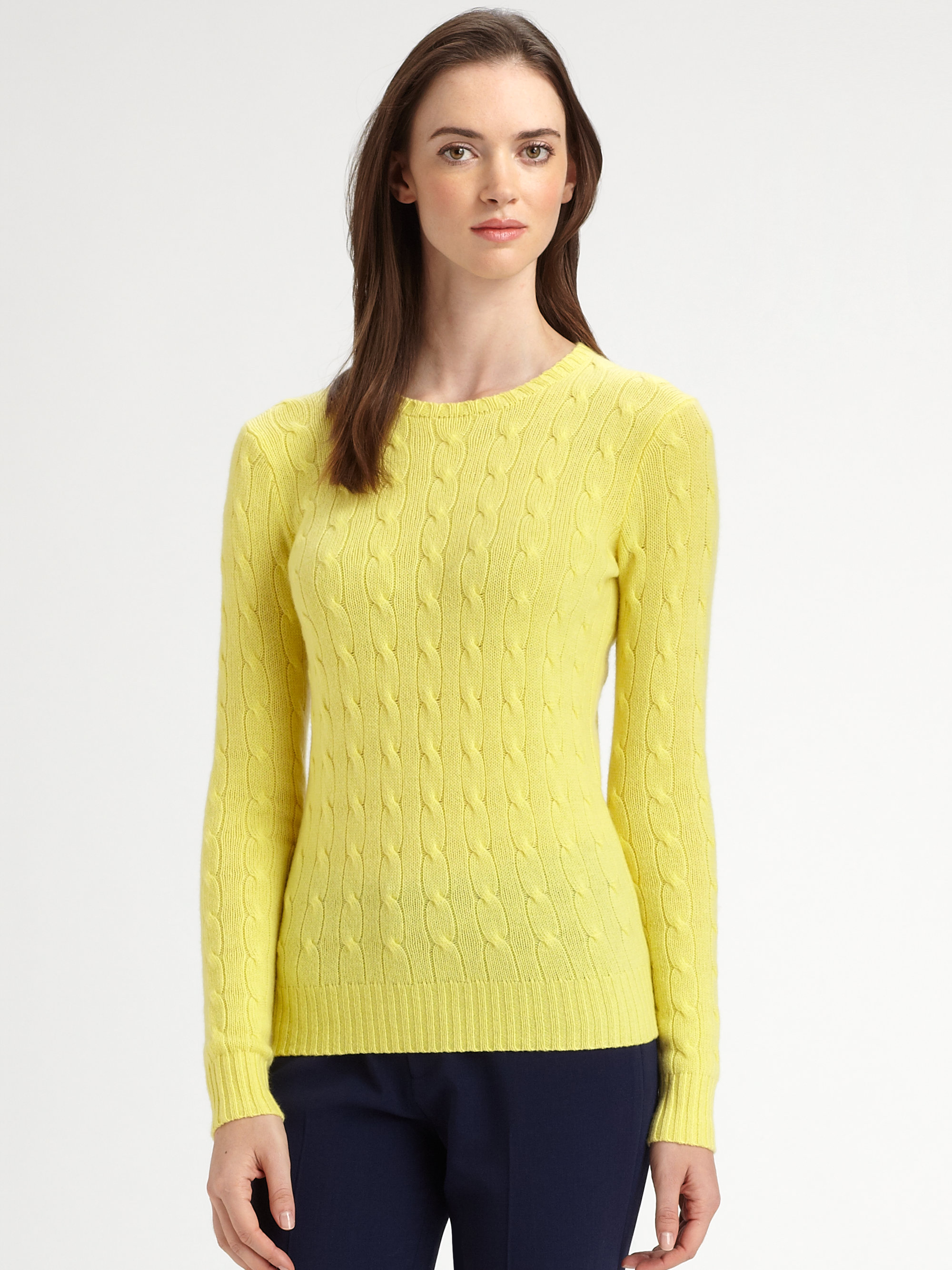 Ralph lauren black label Cable-Knit Cashmere Sweater in Yellow | Lyst