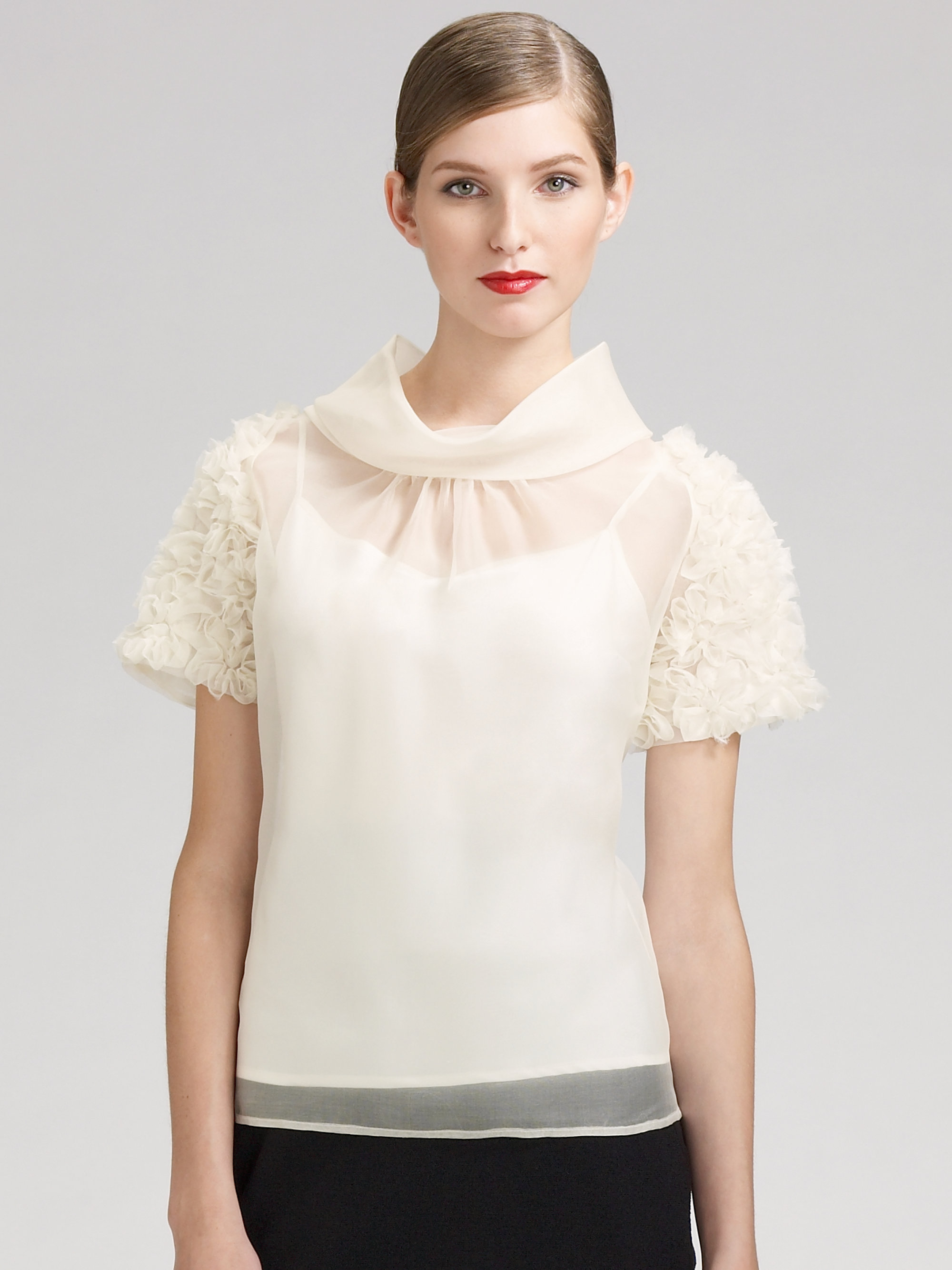 Stand Collar Blouse Designs Images : Lyst st john stand collar silk blouse in natural