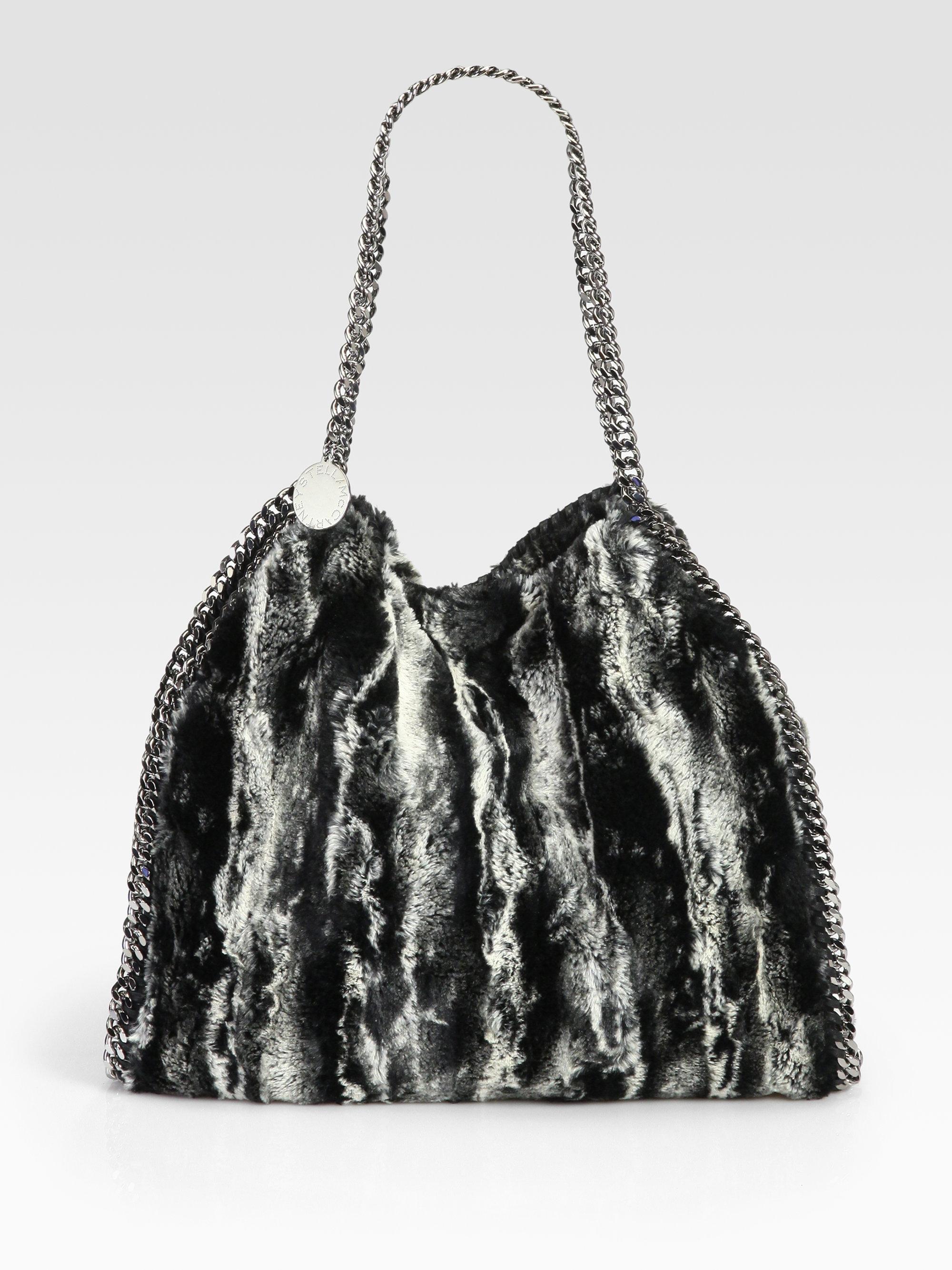 stella mccartney falabella faux fur shoulder bag in black lyst. Black Bedroom Furniture Sets. Home Design Ideas