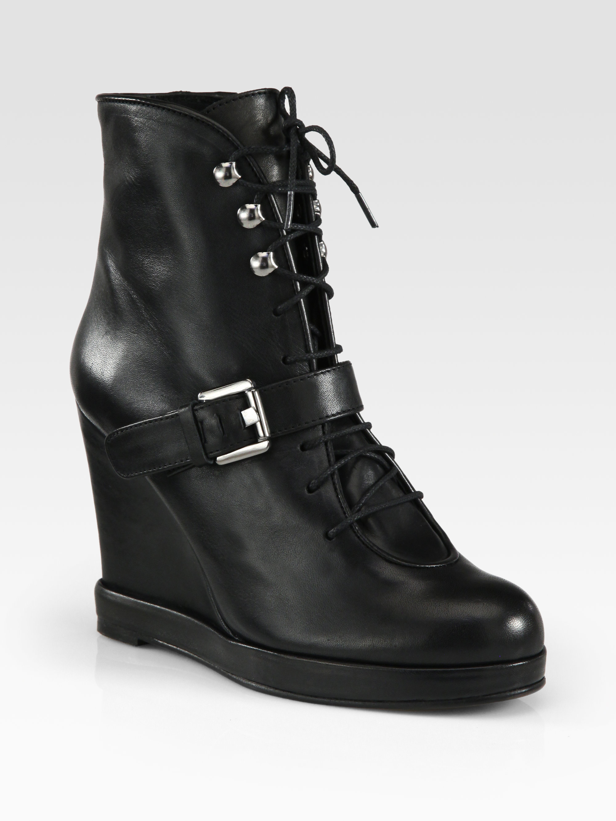 Surface To Air Leather Buckle Wedge Ankle Boots in Black
