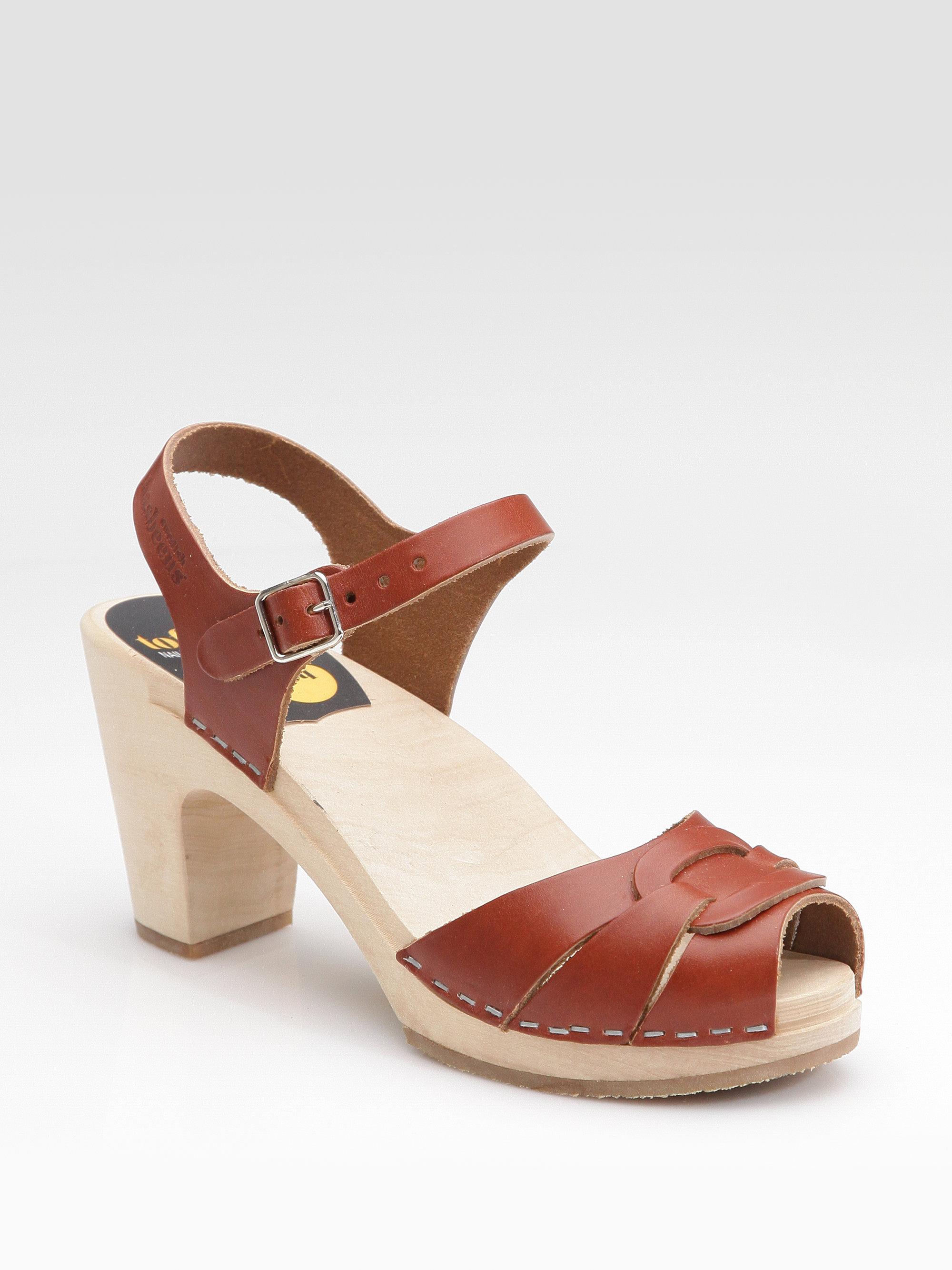 Lyst Swedish Hasbeens Peep Toe Sandals In Brown