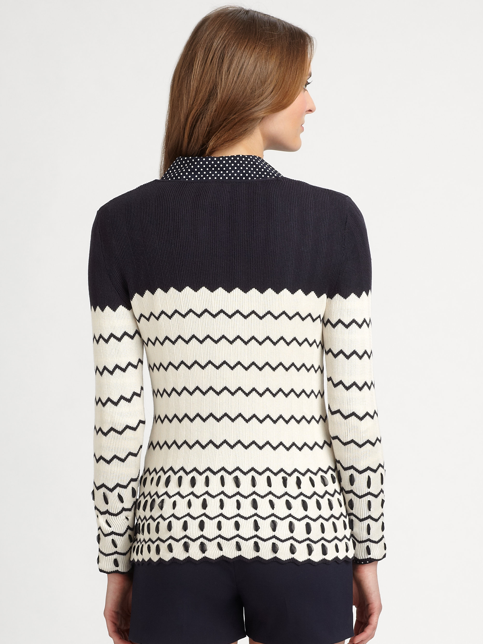 Tory burch Nicky Silk Cardigan Sweater in Blue | Lyst