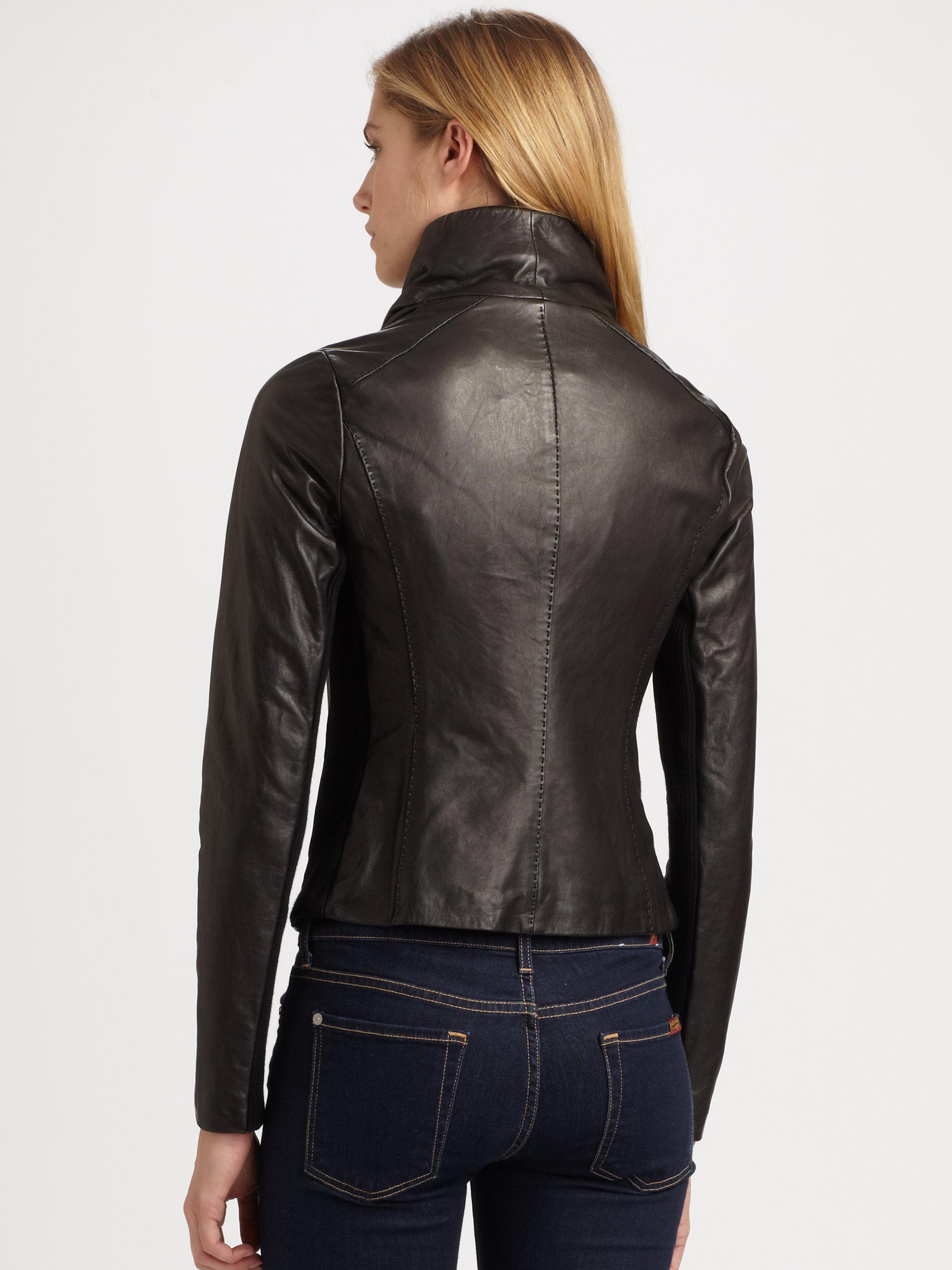 Vince Scuba Leather Jacket In Black Lyst