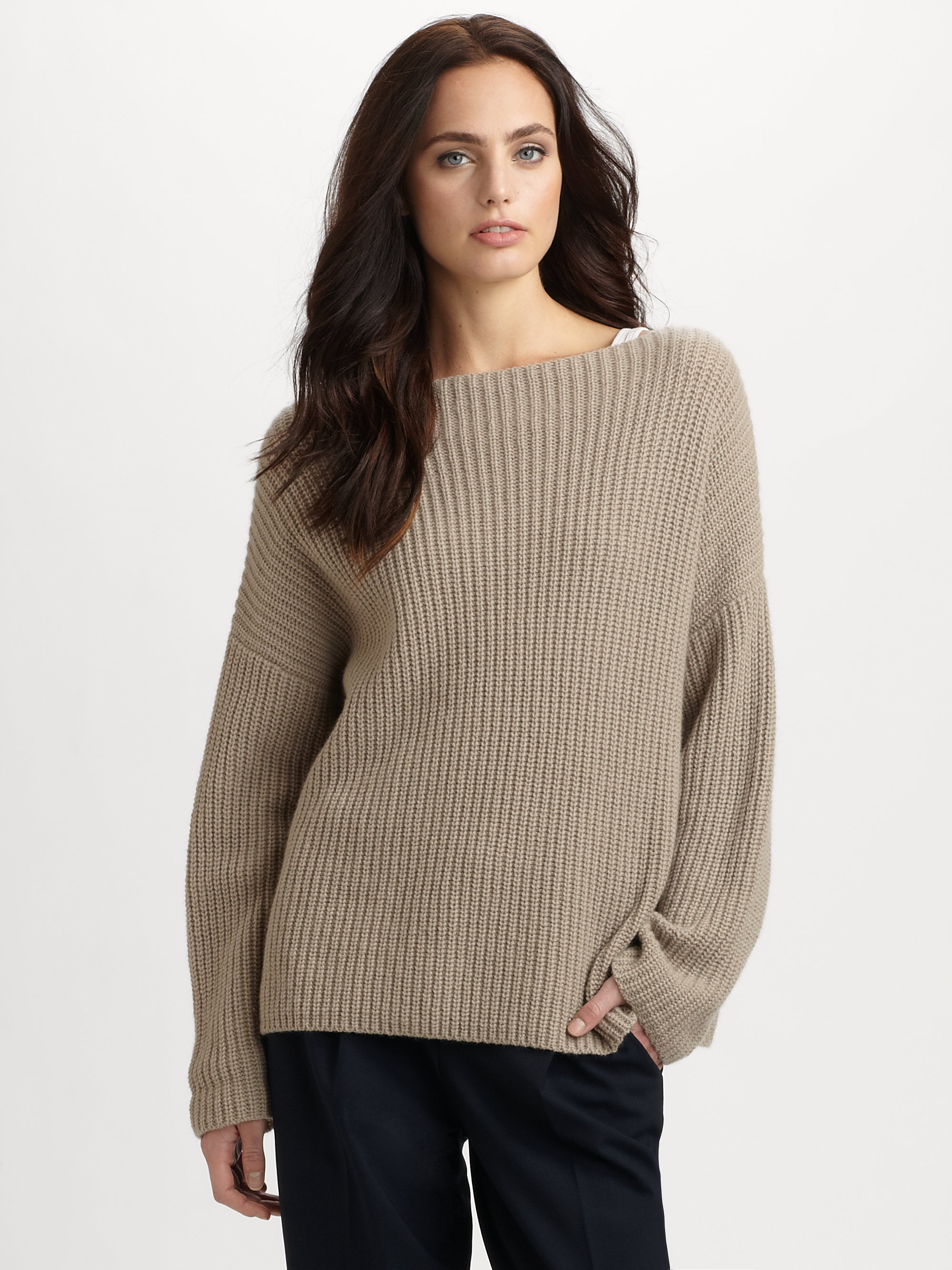 Vince Ribbed Boatneck Sweater in Gray | Lyst