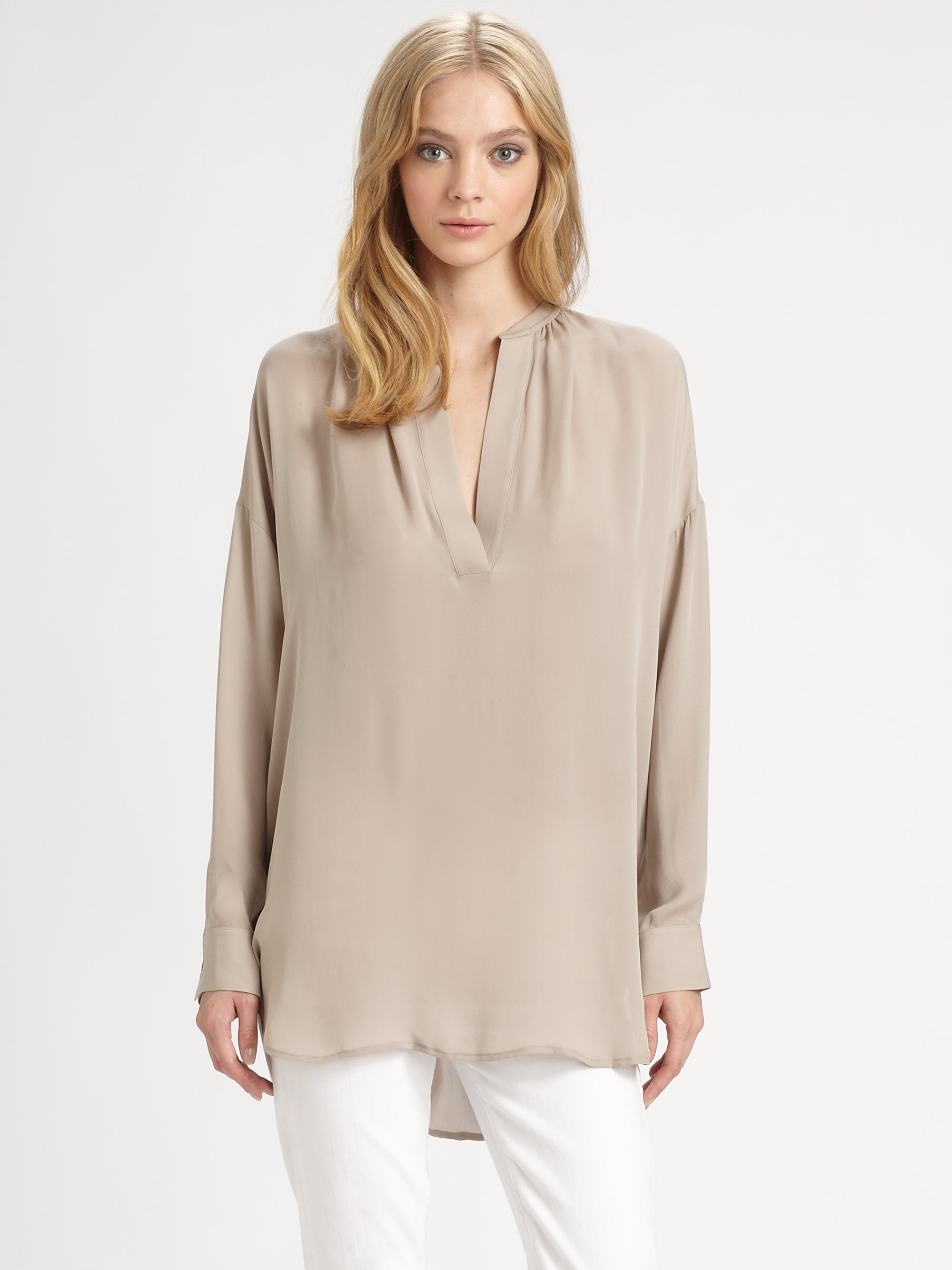 893c950518143c Lyst - Vince Silk Tunic in Natural