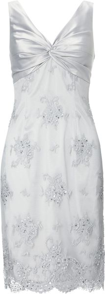 Adrianna Papell Lace Dress in White (Dusty Blue)