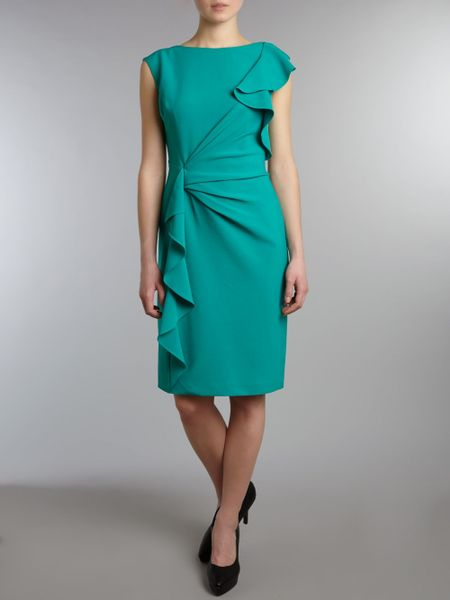 Adrianna Papell Ruffle Front Detail Dress In Green Jade
