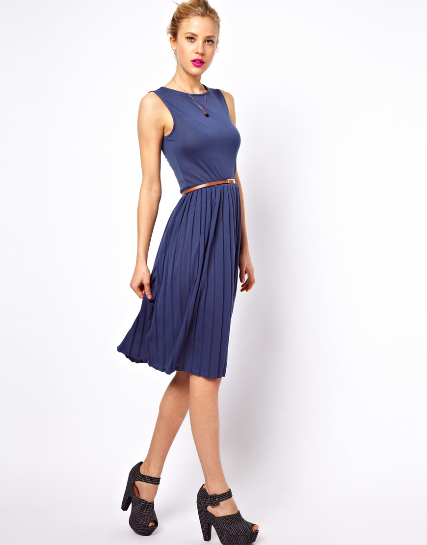 asos collection asos sleeveless midi dress with pleated