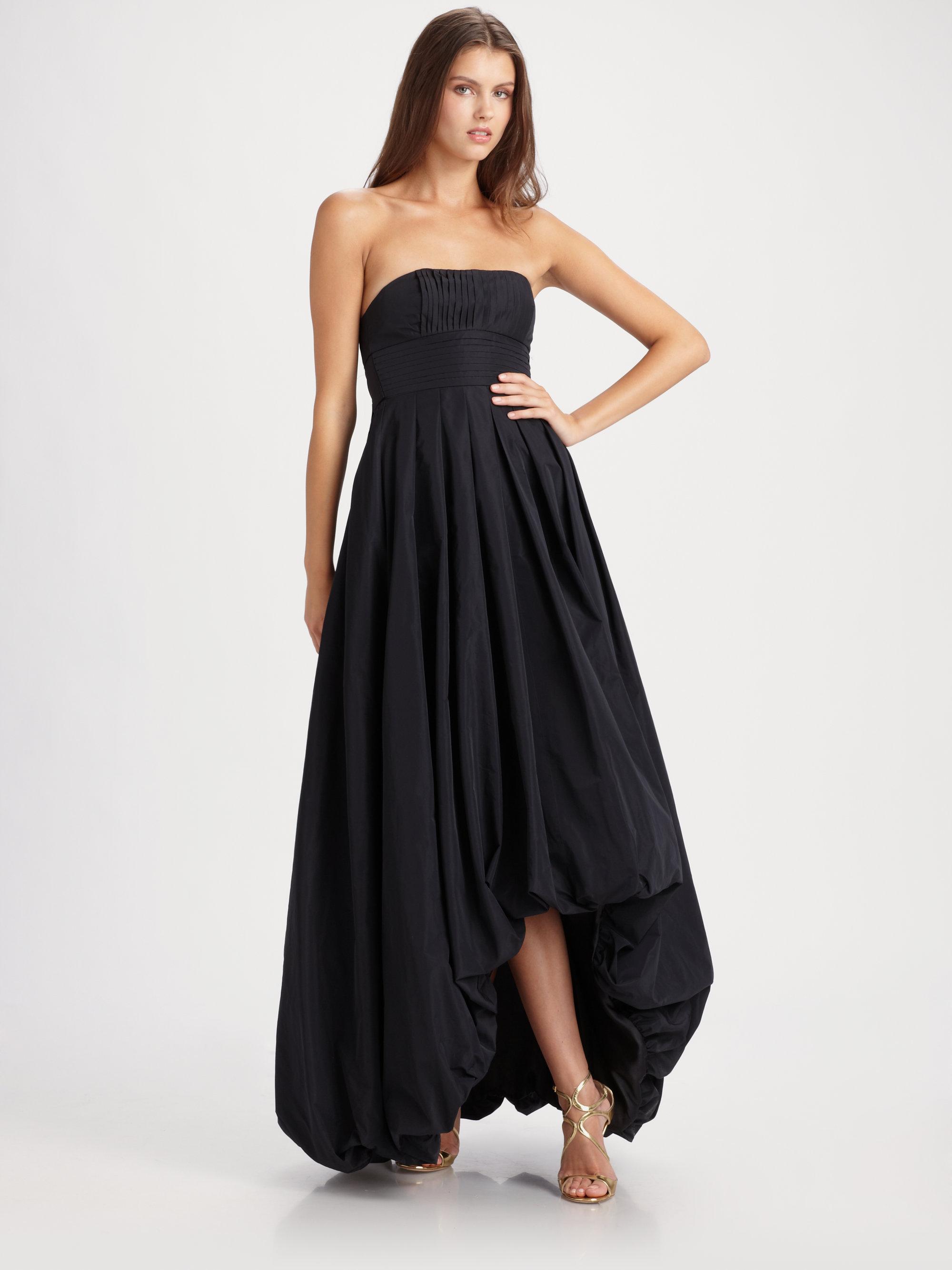 Lyst - Bcbgmaxazria Strapless Hilow Hem Dress in Black