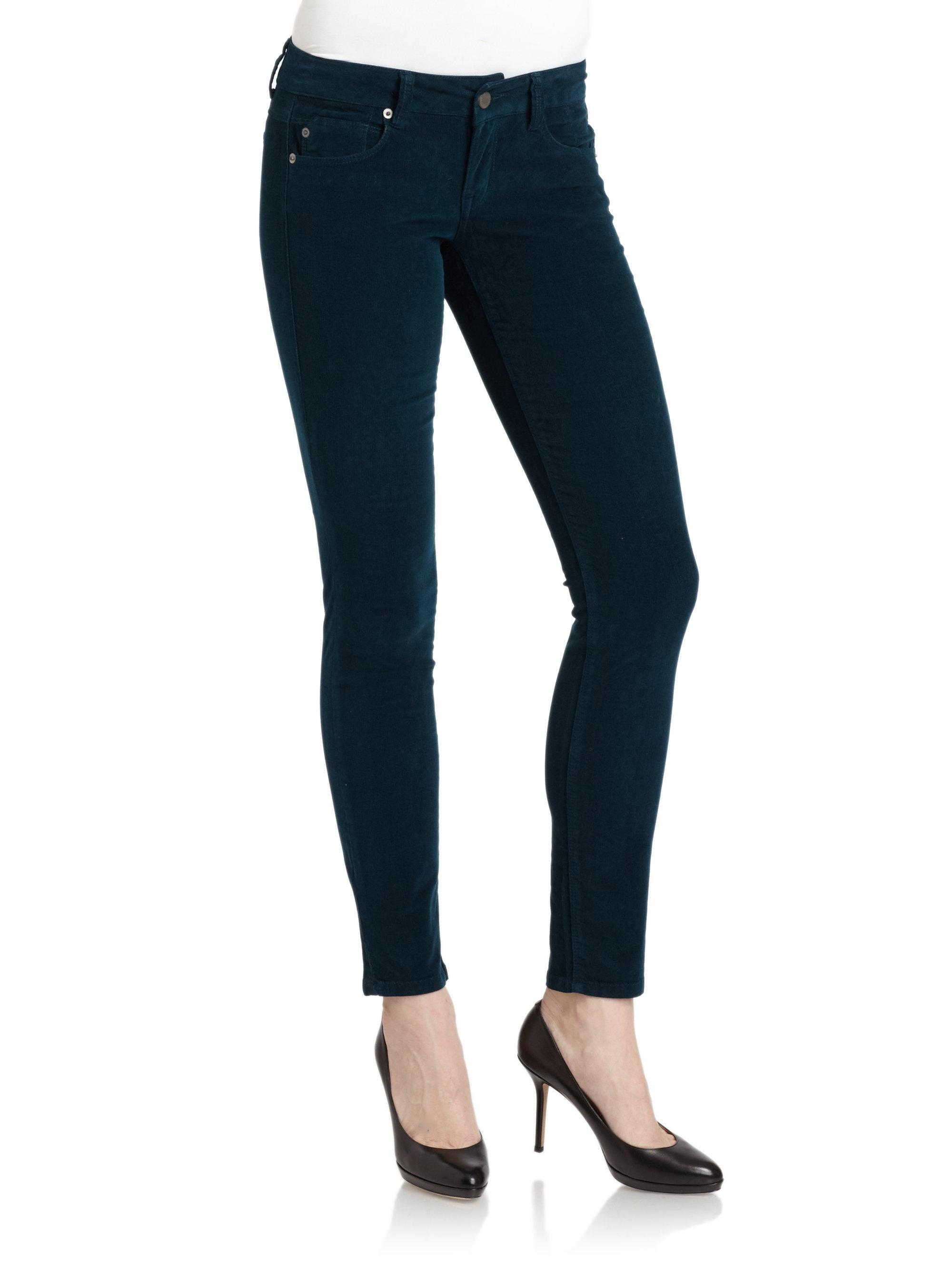Model Guess Kate Skinny Corduroy Pants In Black  Lyst