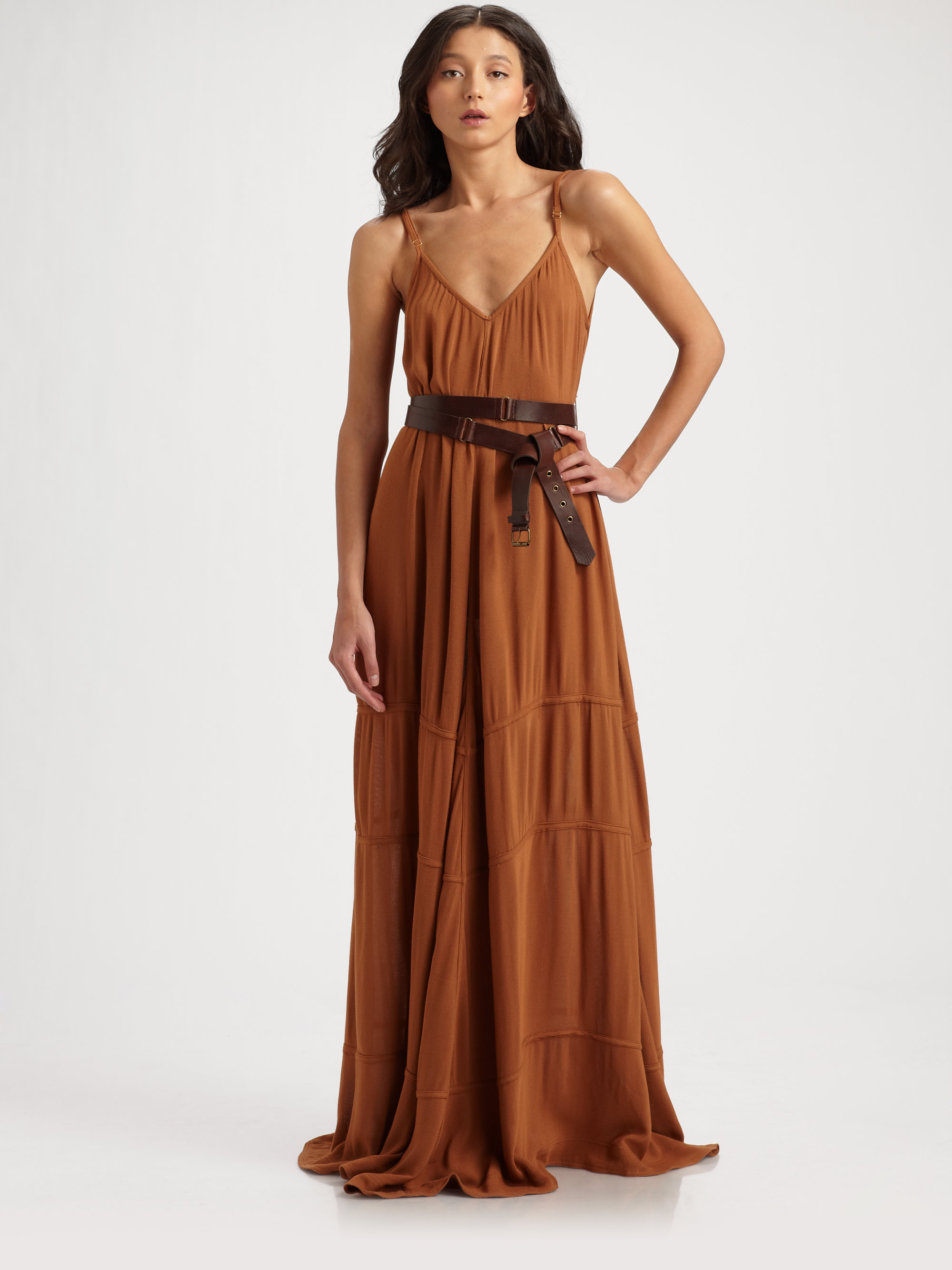 Camilla & marc Day Break Belted Maxi Dress in Brown | Lyst