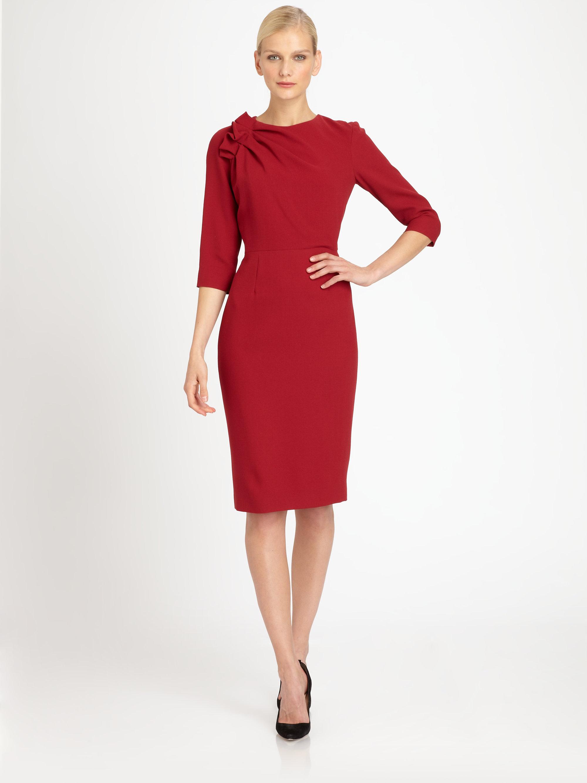 Lyst Carolina Herrera Crepe Dress In Red