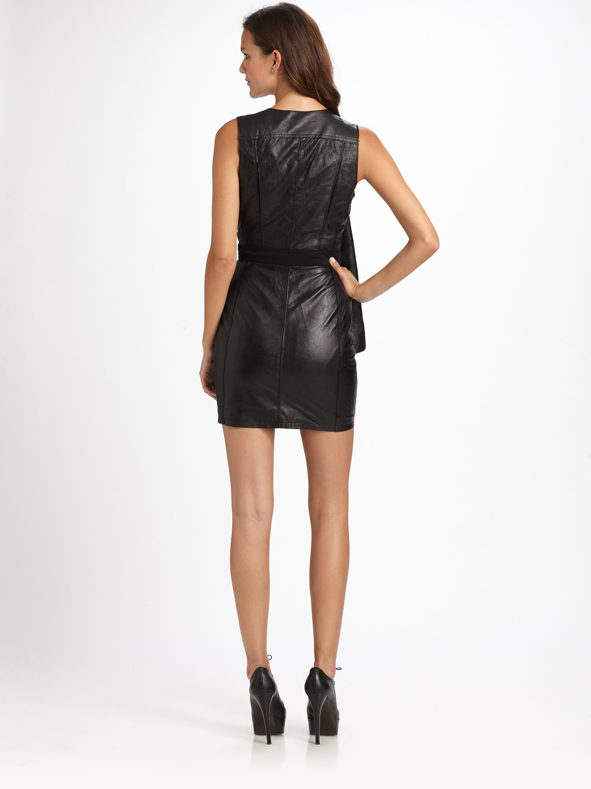 Catherine Malandrino Draped Leather Dress In Black Lyst