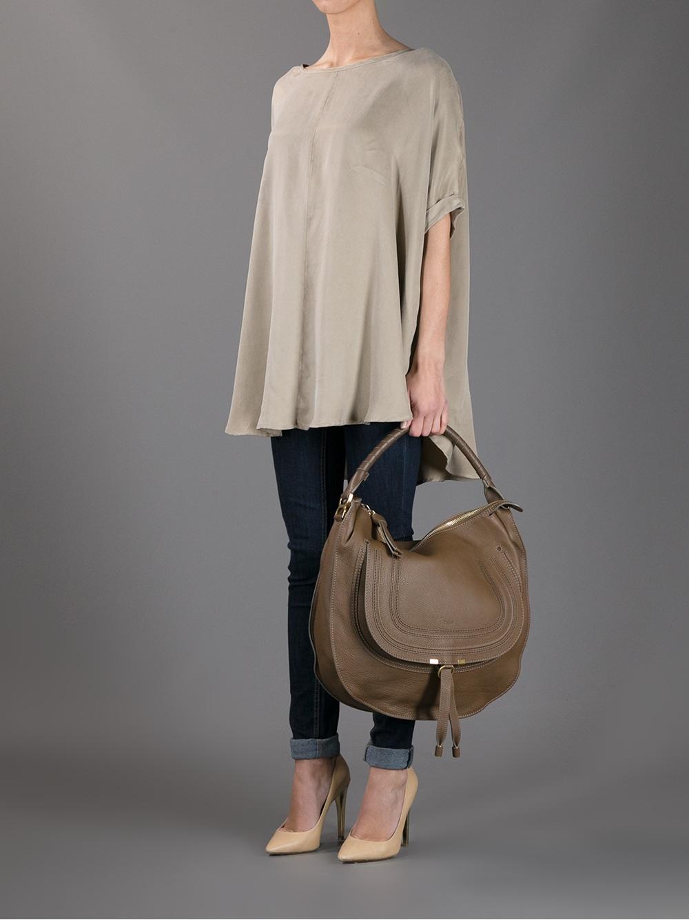 real chloe handbags - marcie medium studded satchel bag, gray, size: m - chloe