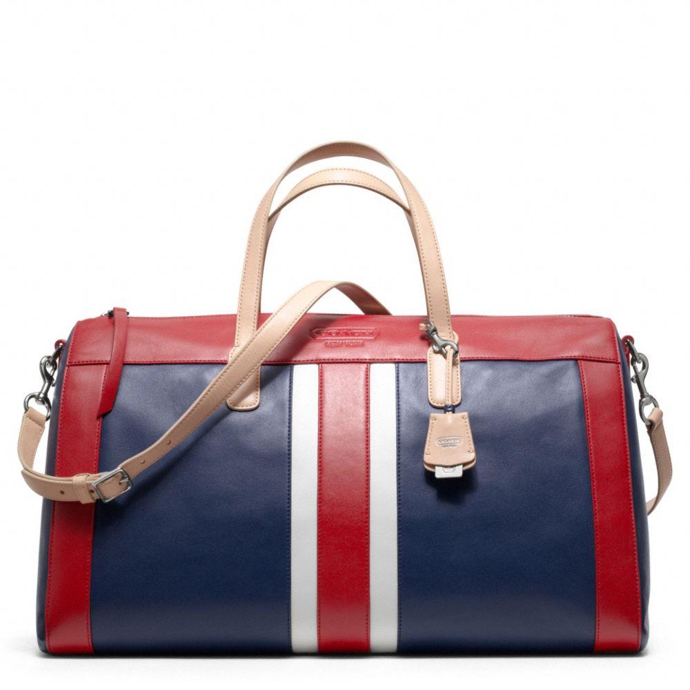 Coach Legacy Weekend Beach Leather Stripe Boston Bag in Red | Lyst