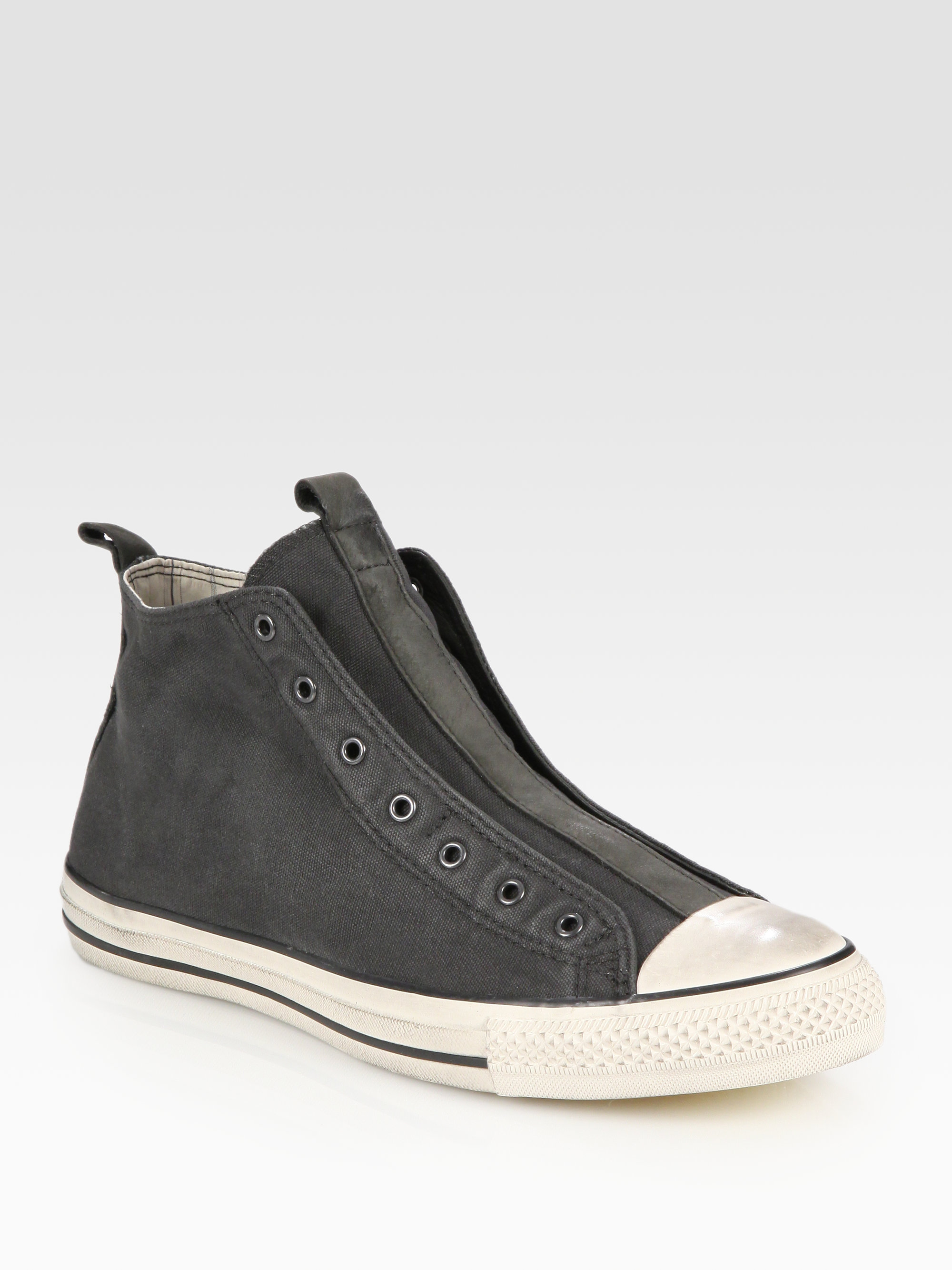 f8163c841f24 Converse John Varvatos Laceless Canvas Hightop Sneakers in Gray for Men -  Lyst