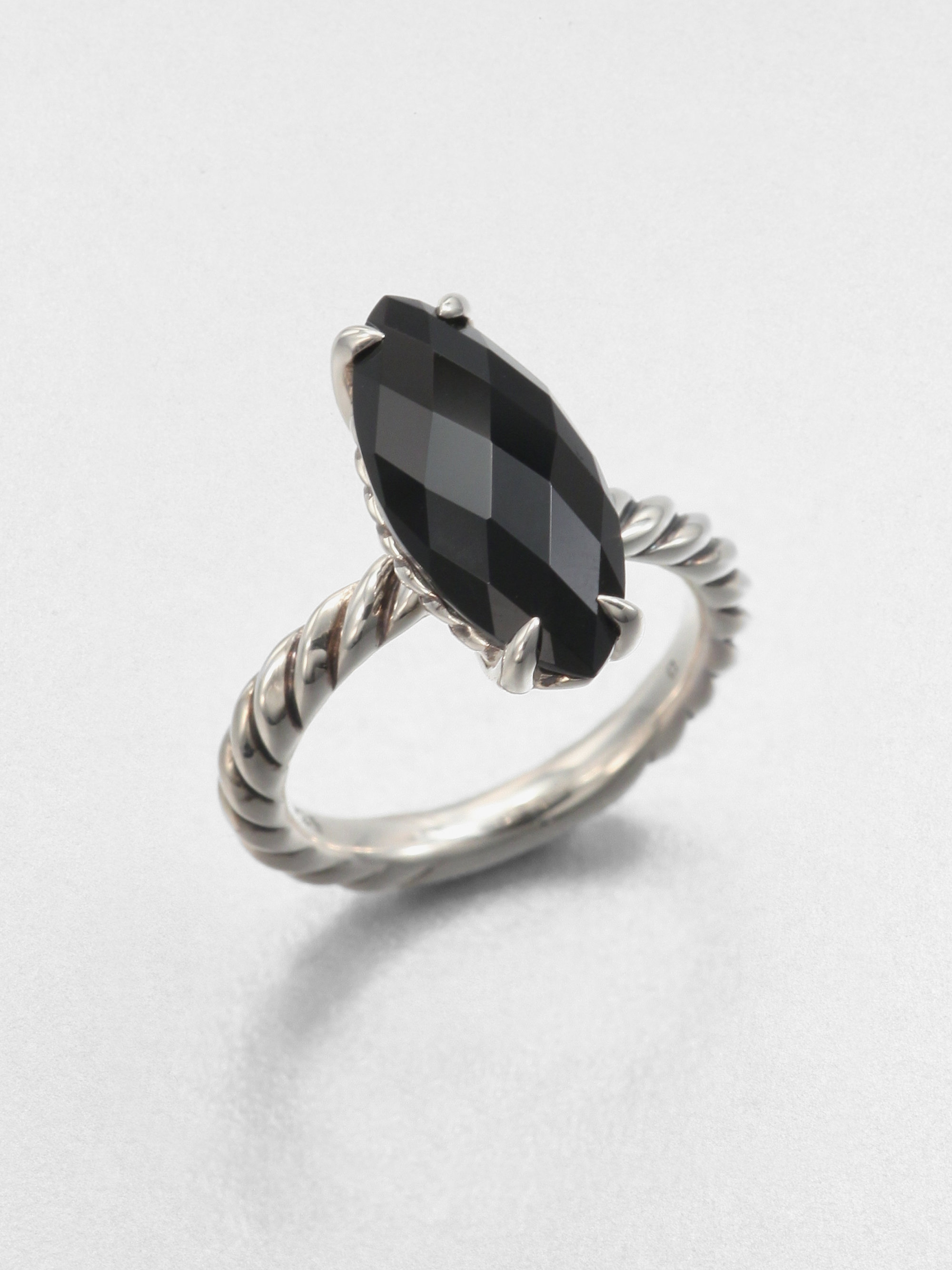 David Yurman Black Onyx And Sterling Silver Stack Ring In