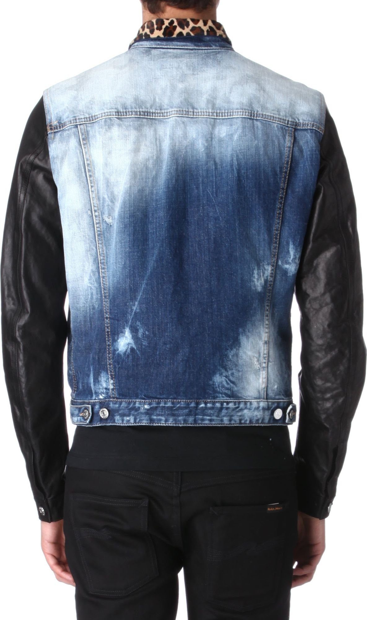 Dsquared 178 Leopard Collar Denim Jacket In Blue For Men Lyst